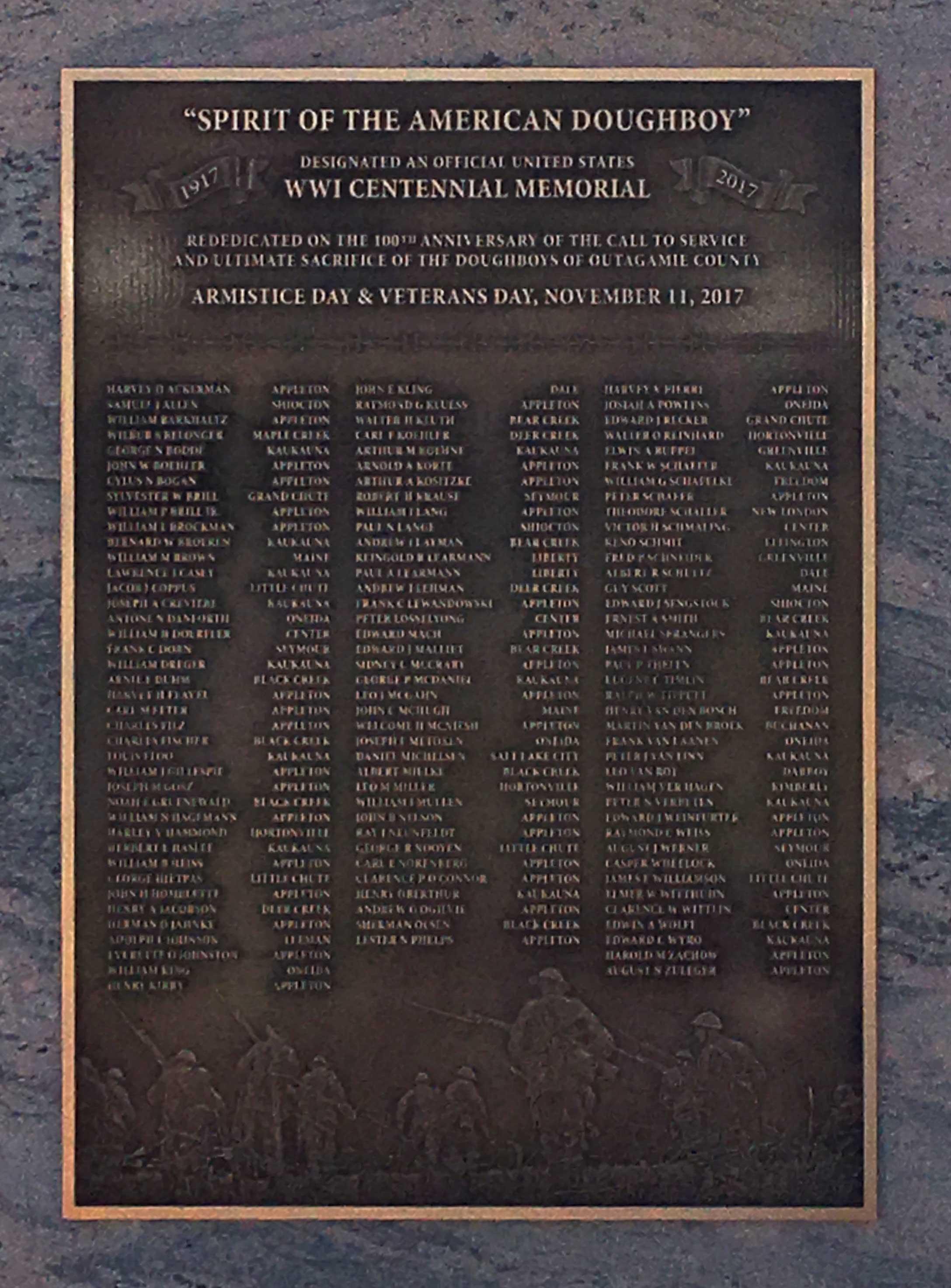 New Centanial Memorial Designation and Doughboys of Outamaimie County plaque.