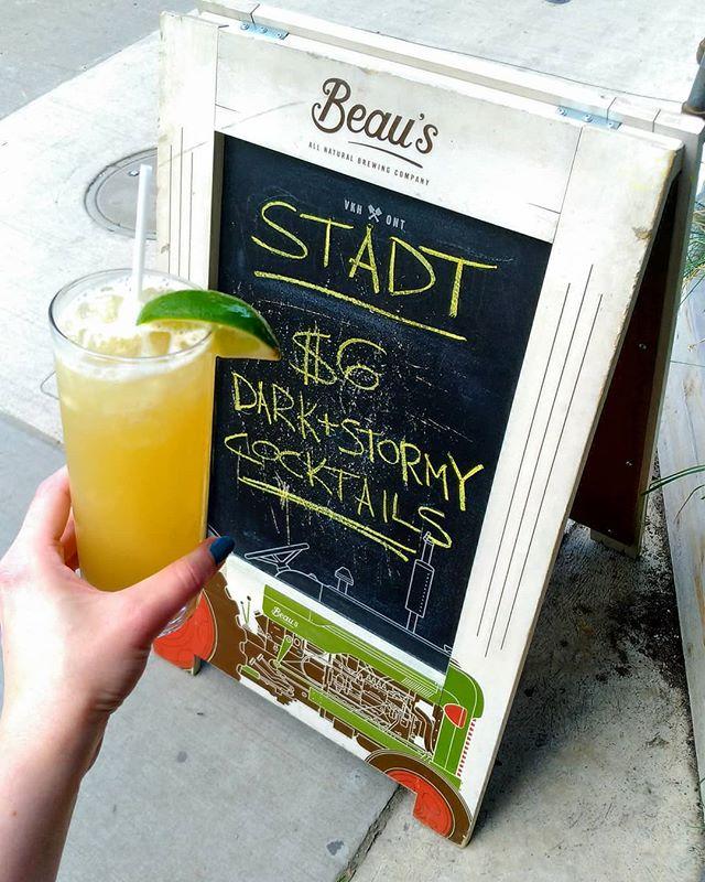 Tonight Stadt is serving $6 Dark & Stormy cocktails! While supplies last. Starting at 5pm. #cocktails #cocktailspecials #drinkspecials #darkandstormy