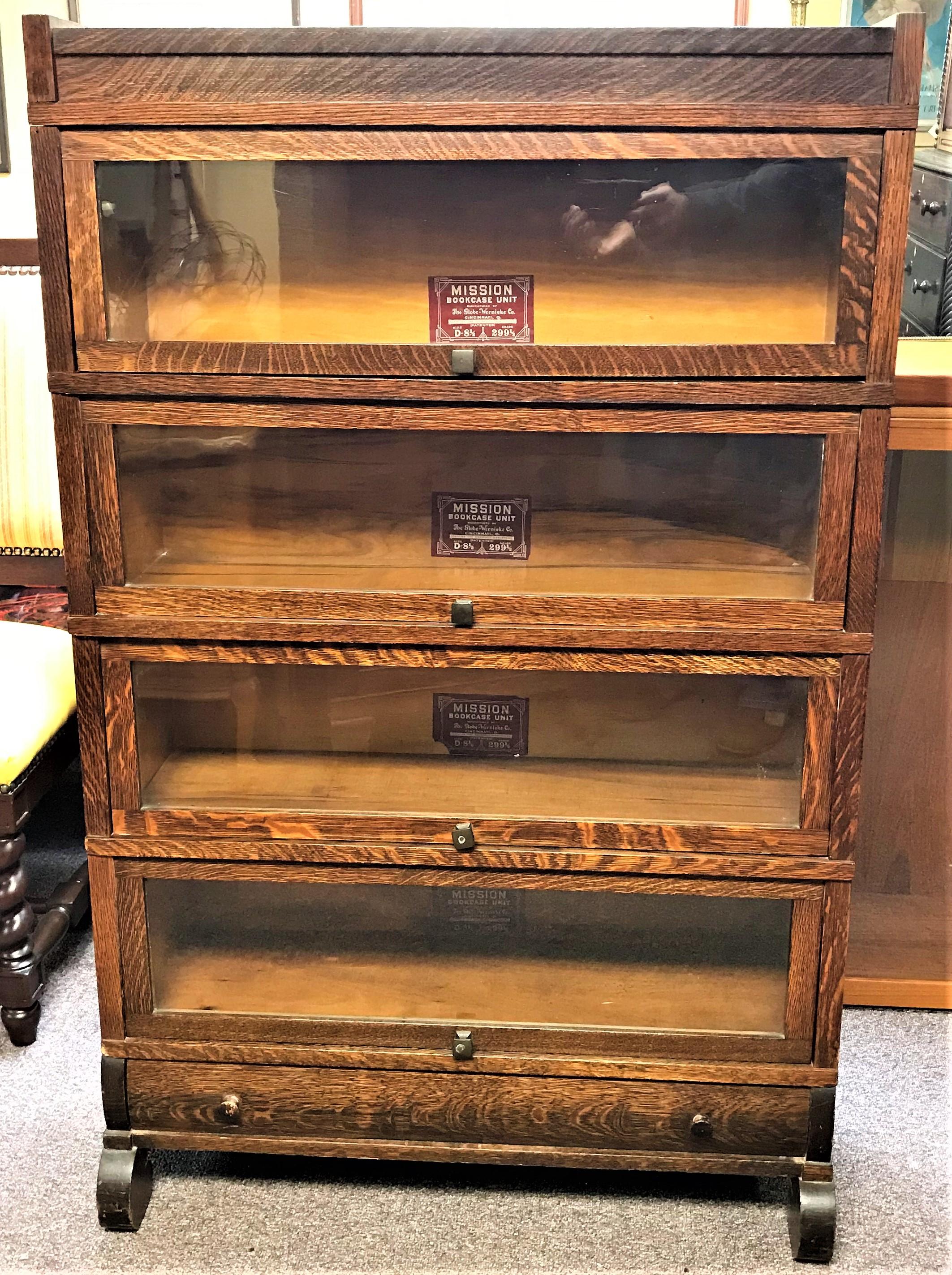 Nice Original Globe Wernicke Grade 299 Tiger Oak 4 Stack
