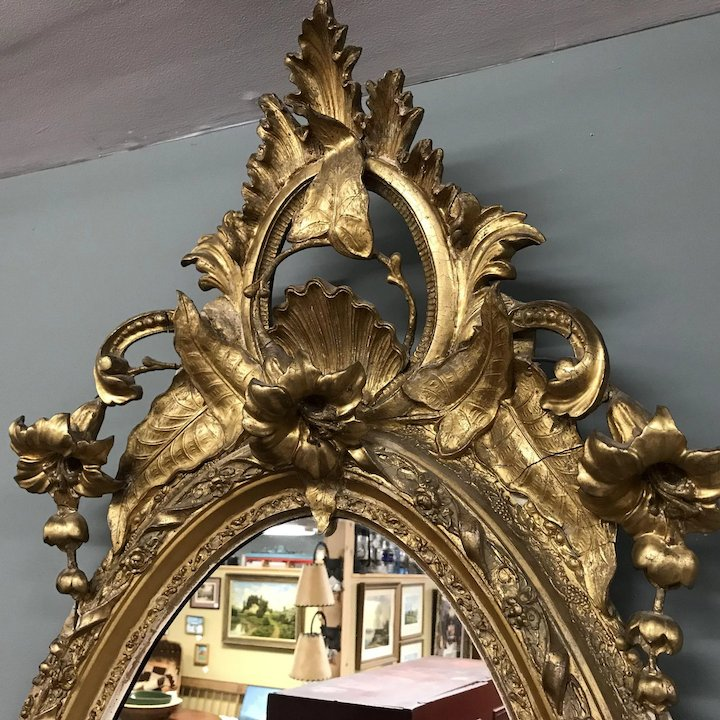 Very Large 19th Century French Rocco Ornate Gilded Mirror Ardesh