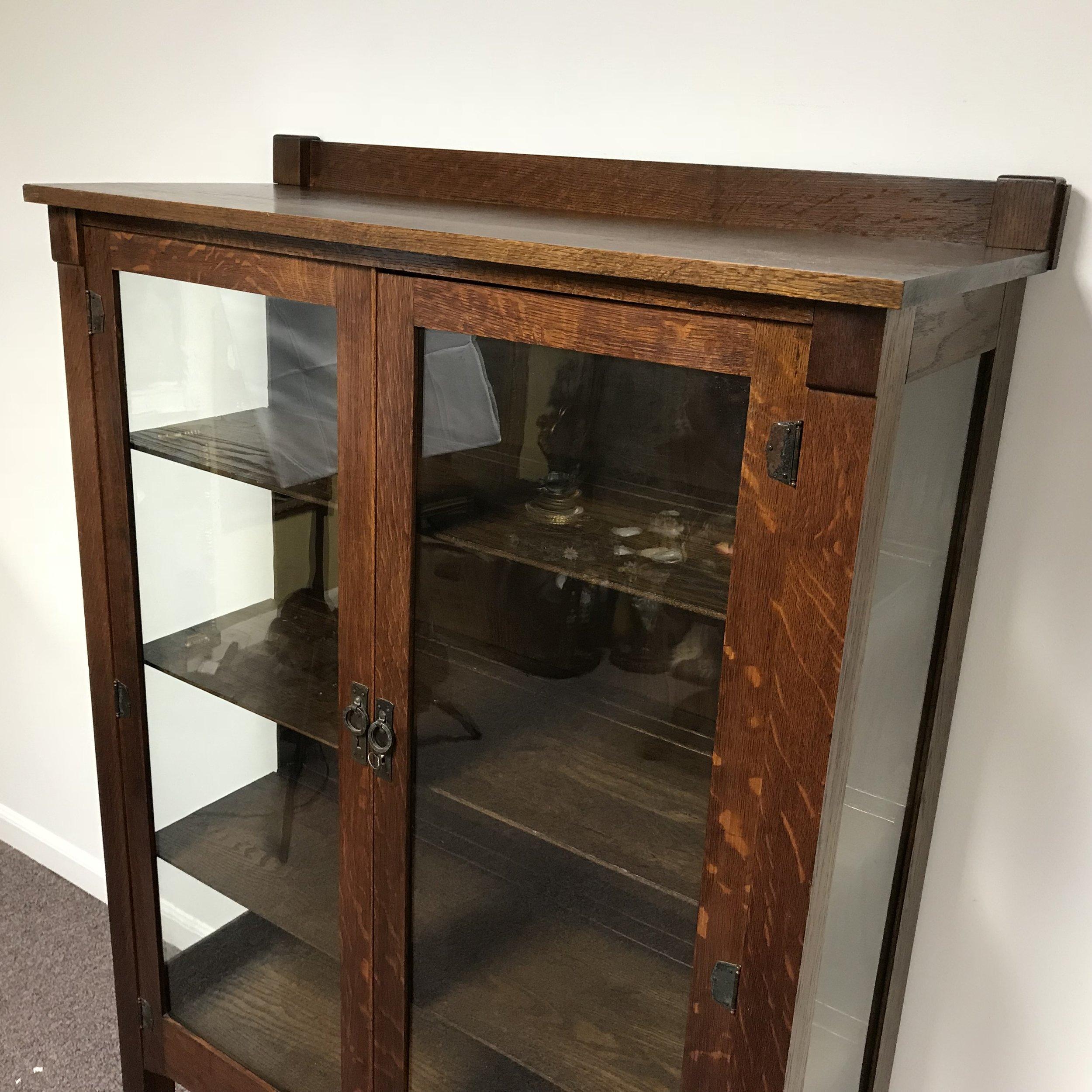 Antique Quarter Sawn Tiger Oak Mission 2 Door Bookcase