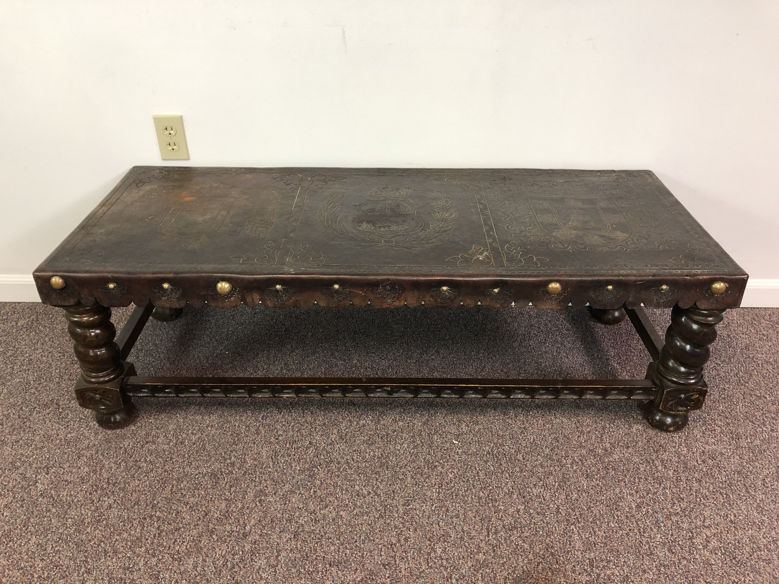 Tooled Leather Top Coffee Table Or