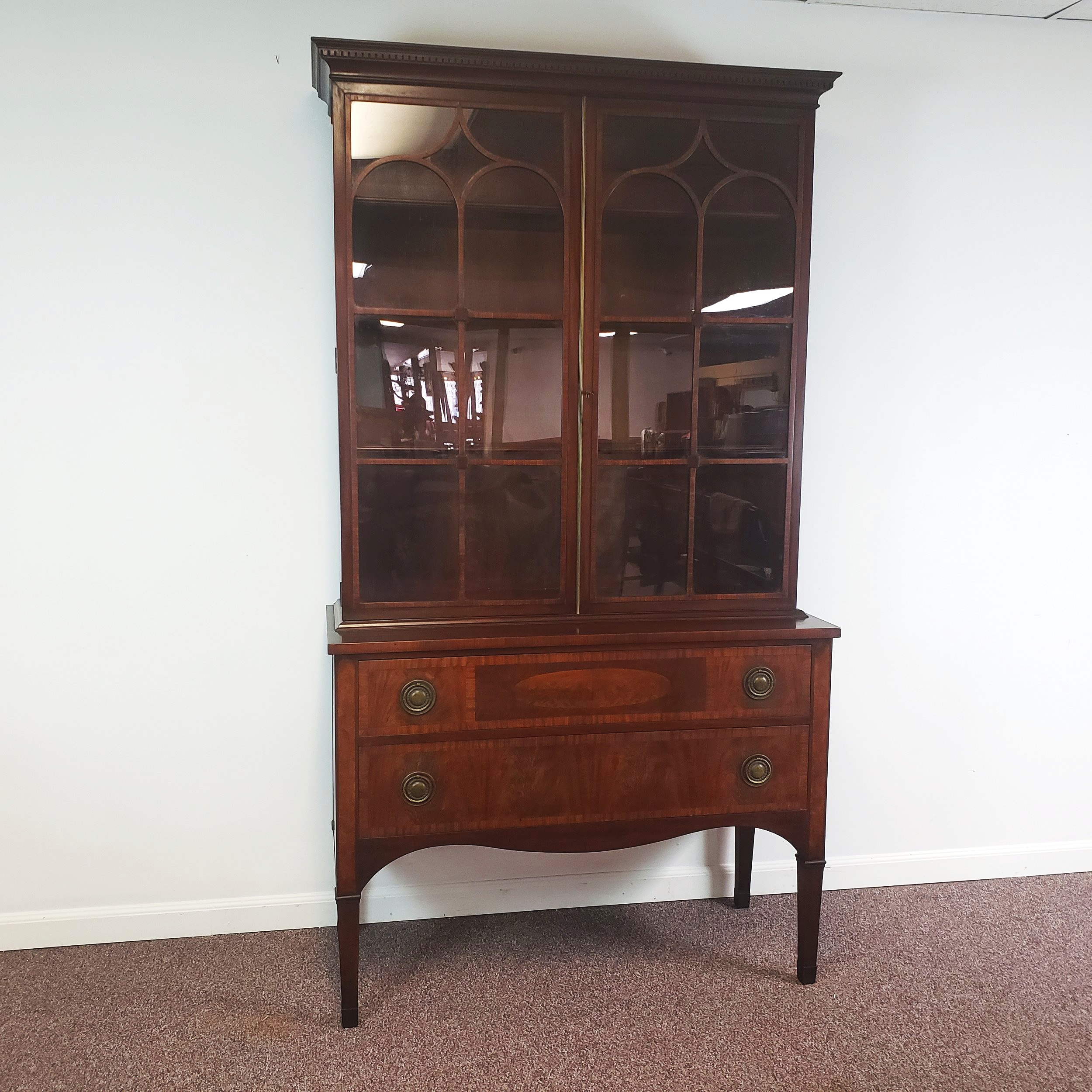 vintage antique 1920s mahogany inlaid china cabinet bookcase hutch rh ardesh com 1920s style china cabinet 1920s walnut china cabinet
