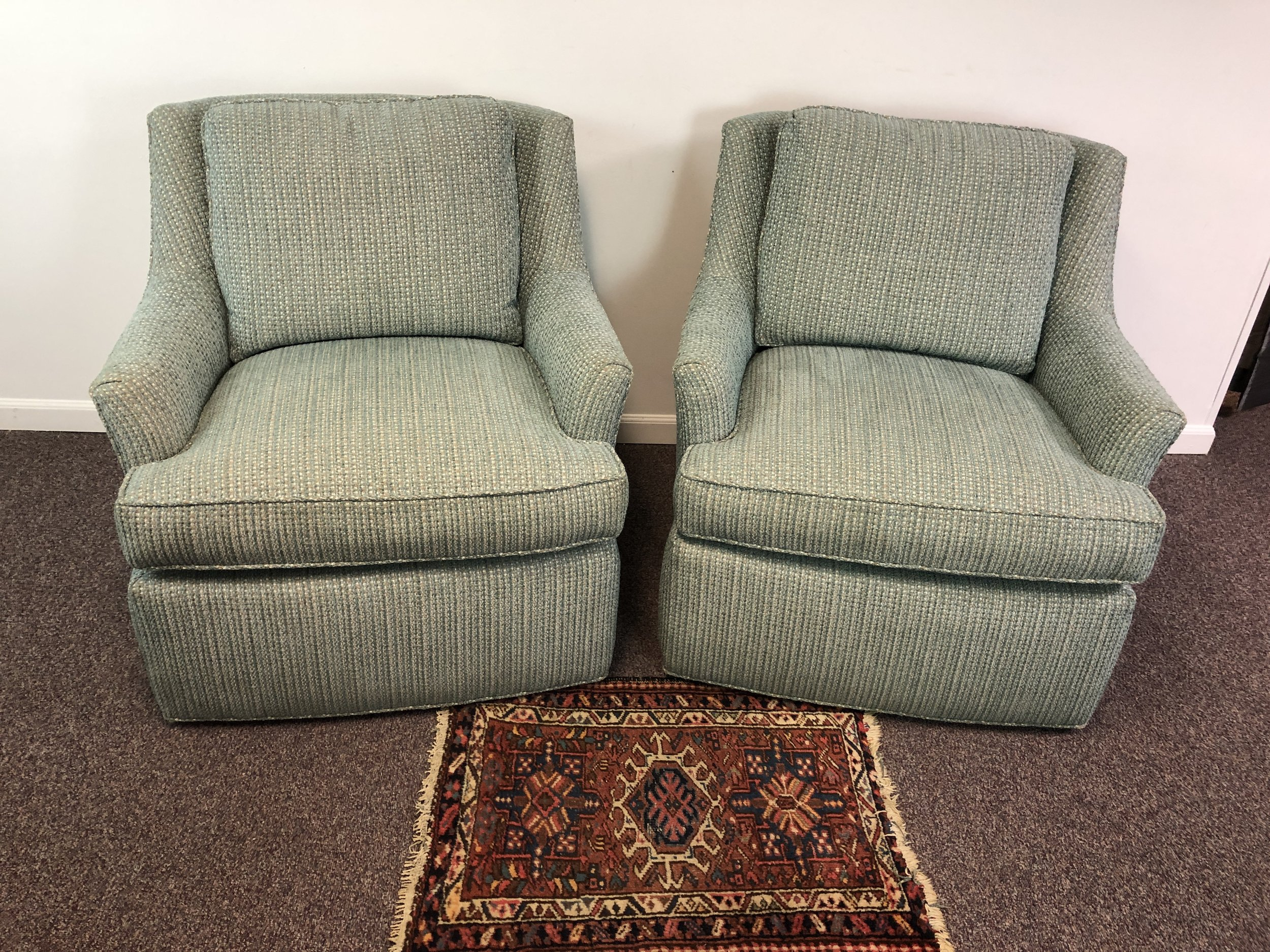 Pair Of Swivel Arm Chairs In Blue Tweed Upholstery By Pearson