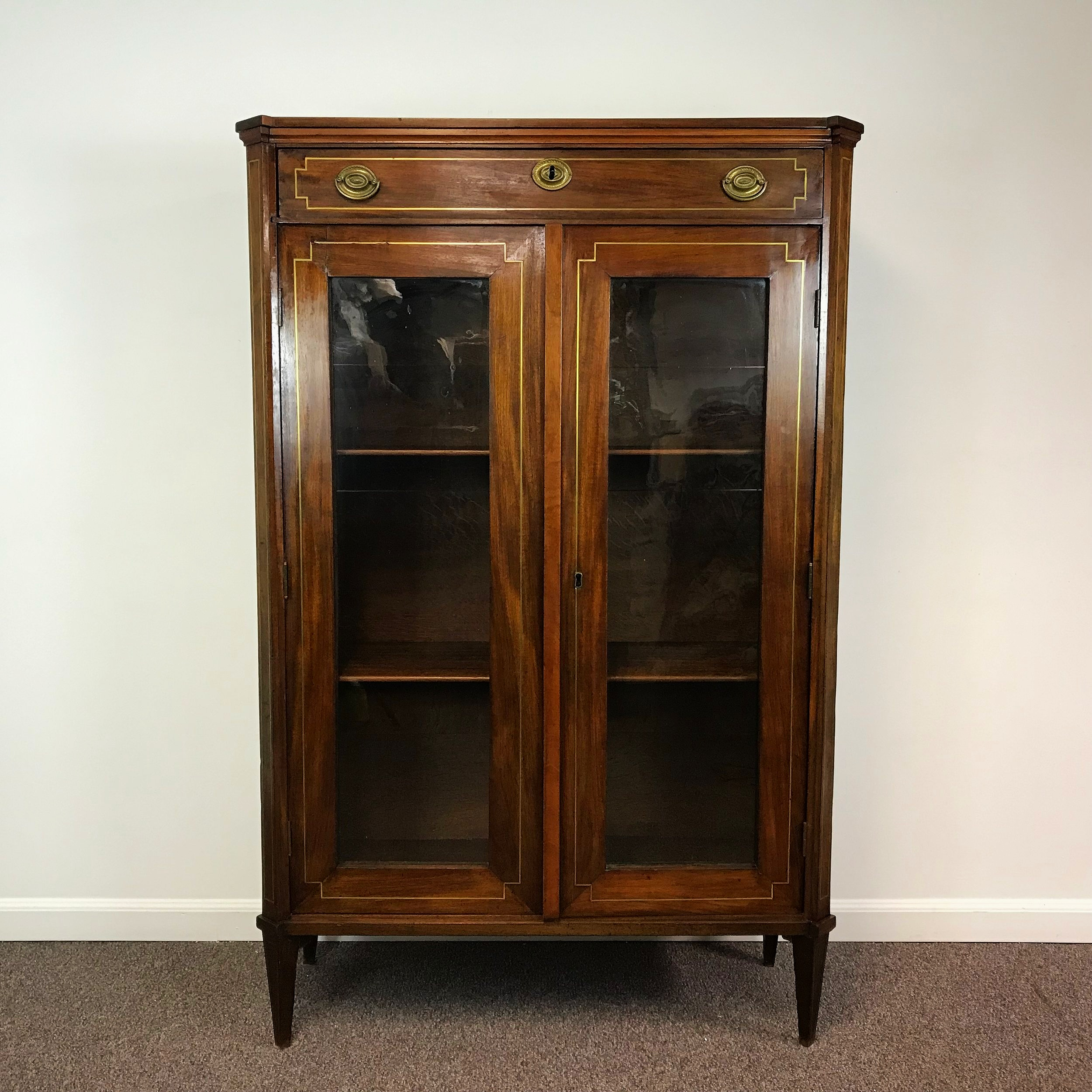 19th Century Continental Walnut And Brass Inlay Bookcase