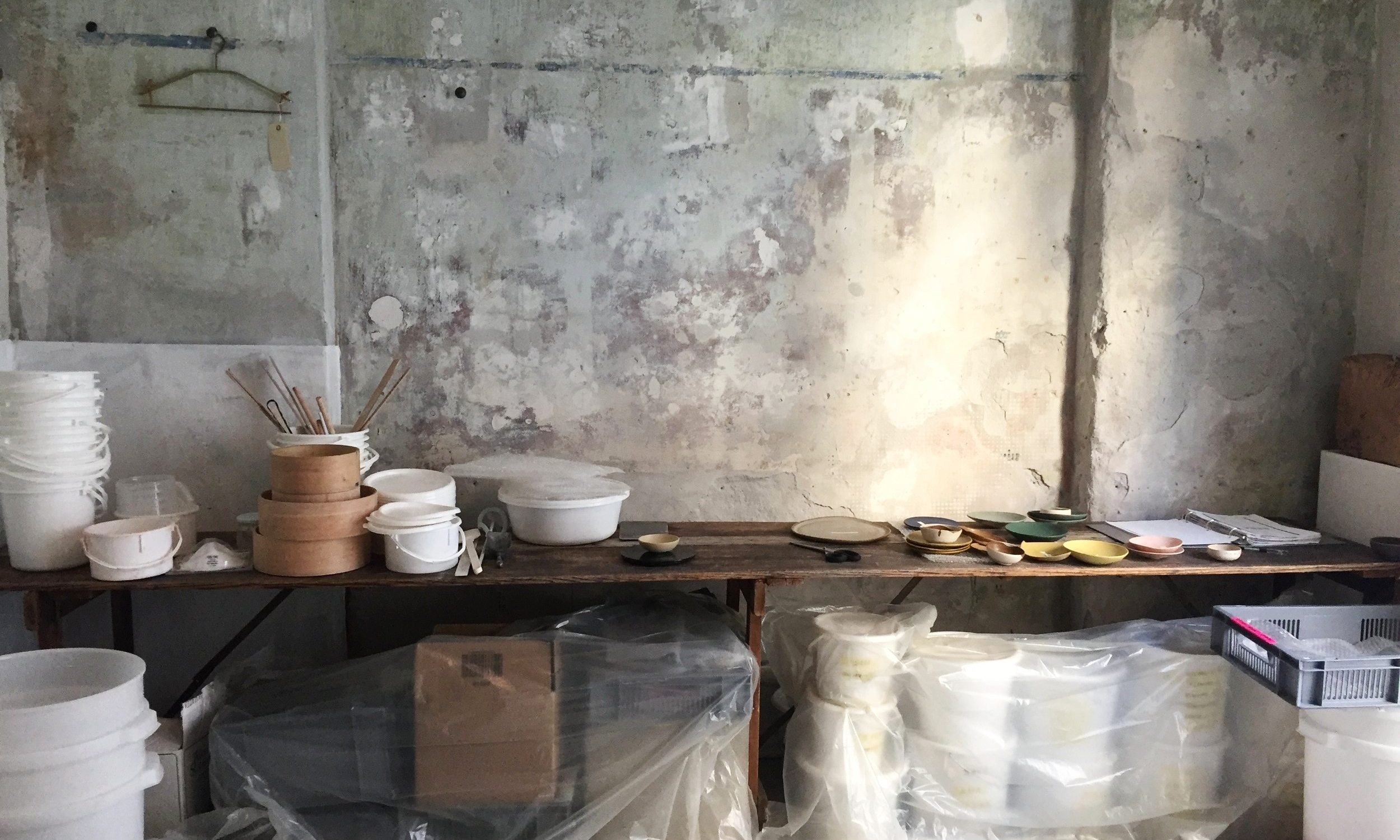 My temporary glaze making studio in Copenhagen.