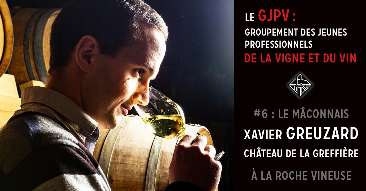 Depuis 1924, 4 génération de la famille Greuzard se sont succédées à la tête du Château de la Greffière dans le Mâconnais.  Le Domaine s'étend aujourd'hui sur 46 Ha de vignes répartis sur 6 communes différentes rayonnants autour de La Roche-Vineuse où se situe le château. Xavier travaille sur 11 cuvées différentes (blanc, rouge et pétillant), parmi lesquelles le Saint-Véran, le Mâcon blanc, le Bourgogne rouge ou le Crémant de Bourgogne.