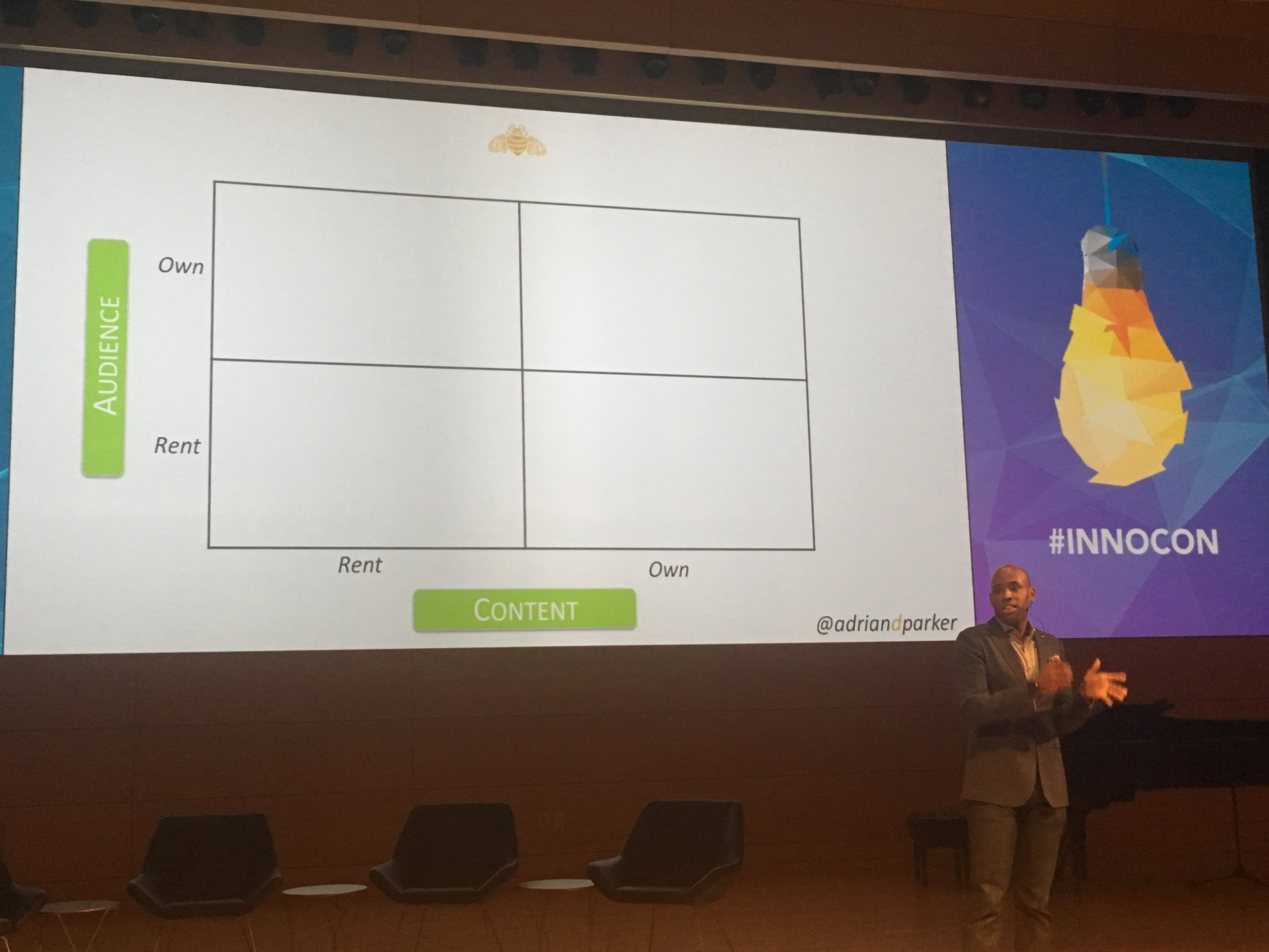 The audience and qontent business model matrix as presented by Adrian Parker at #innocon