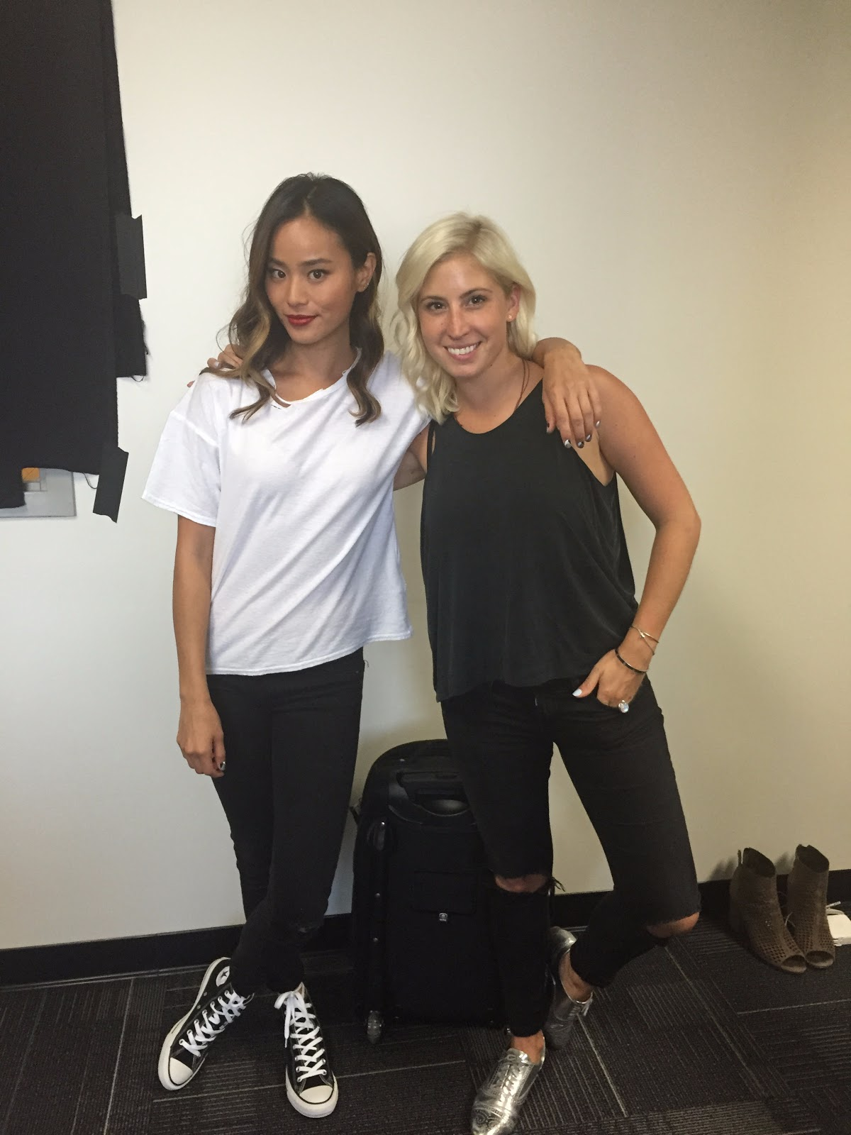 On the set of Emoji Academy with Jamie Chung