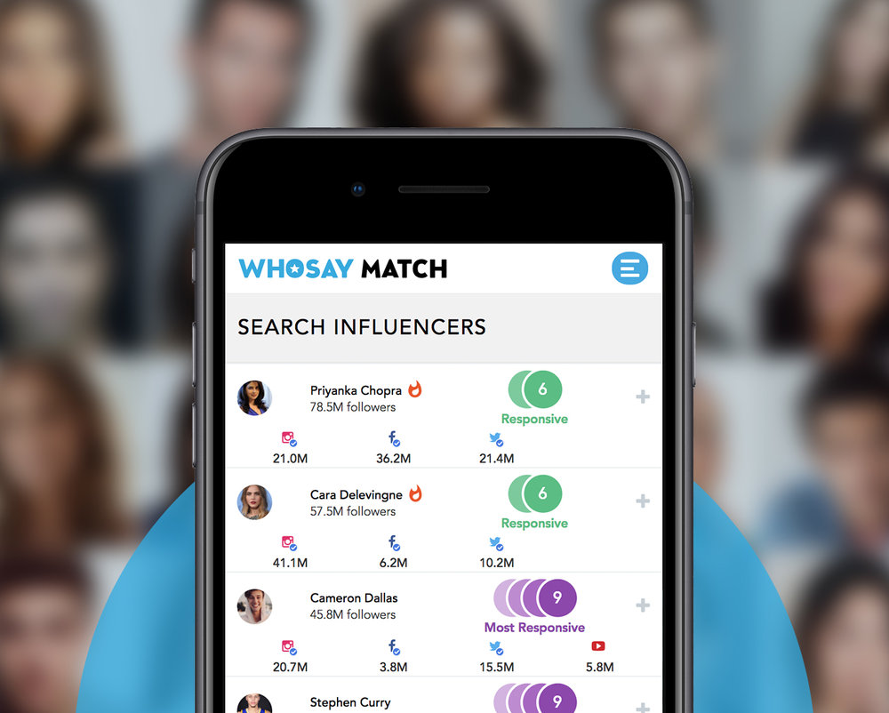 Talent - WHOSAYmatches your influence campaign to professionally vetted Celebrities,Influencers and Micro Influencers, that have each been analyzed for fraudulent activity and brand safety.WHOSAYexpertly manages all talent contracting, legal, SAG and FTC compliance.