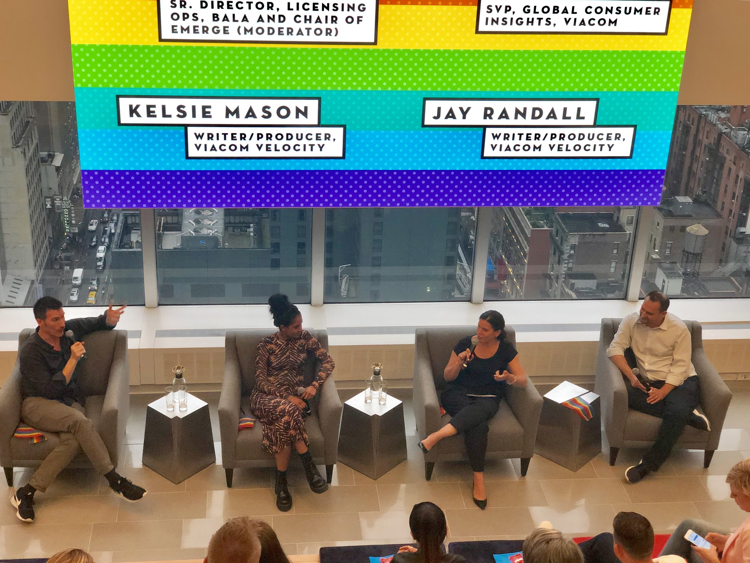 Randall, Mason, Martinez, and Kurtz discussed LGBT+ consumers and brands during Viacom's Ad Solutions' ReThink forum in New York City during Pride Month