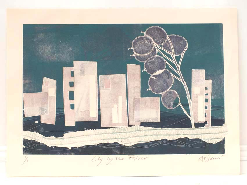 City by the river monoprint