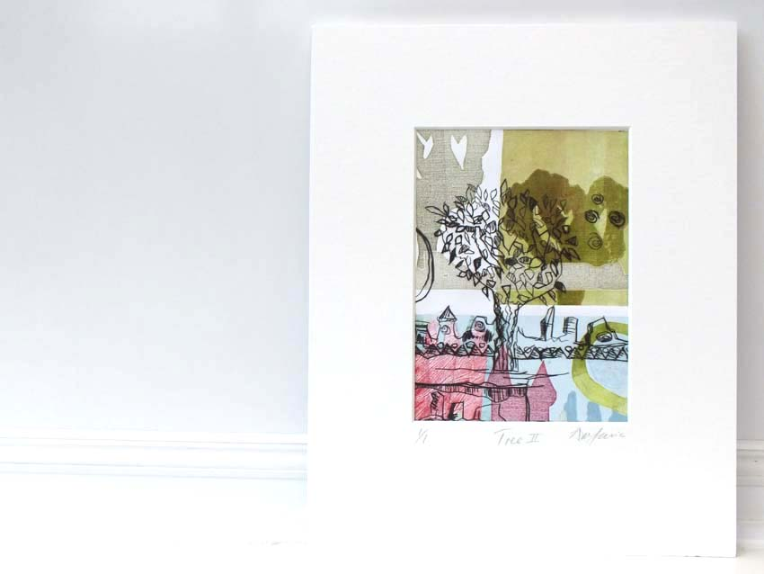 Monoprint painting of a tree