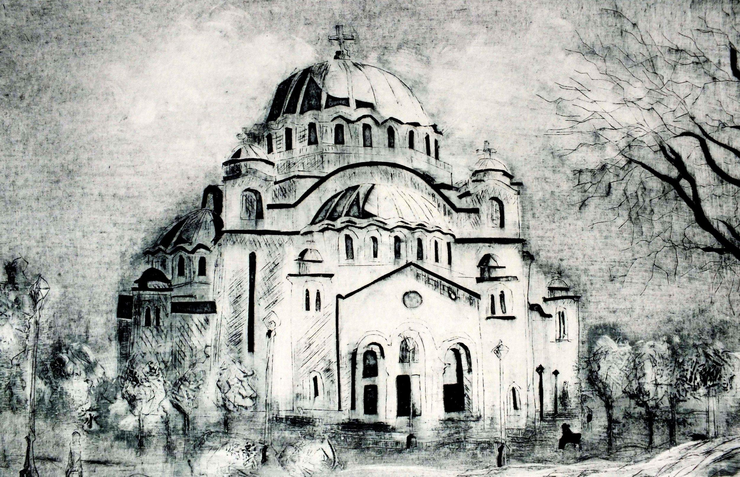 St Sava Church, Belgrade, Collagraph print by Ali Savic