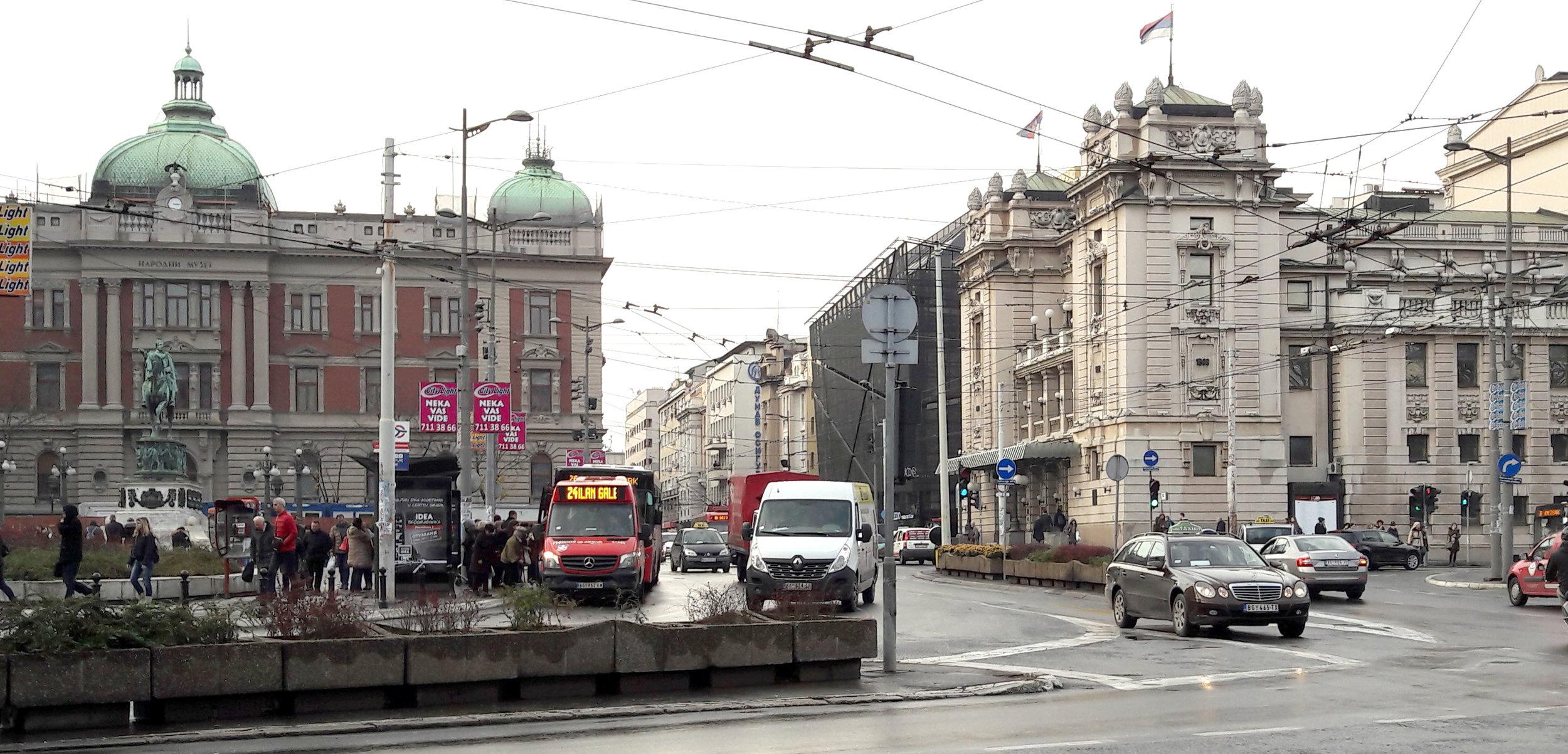 Narodno Pozorište, (National Theatre) on the right