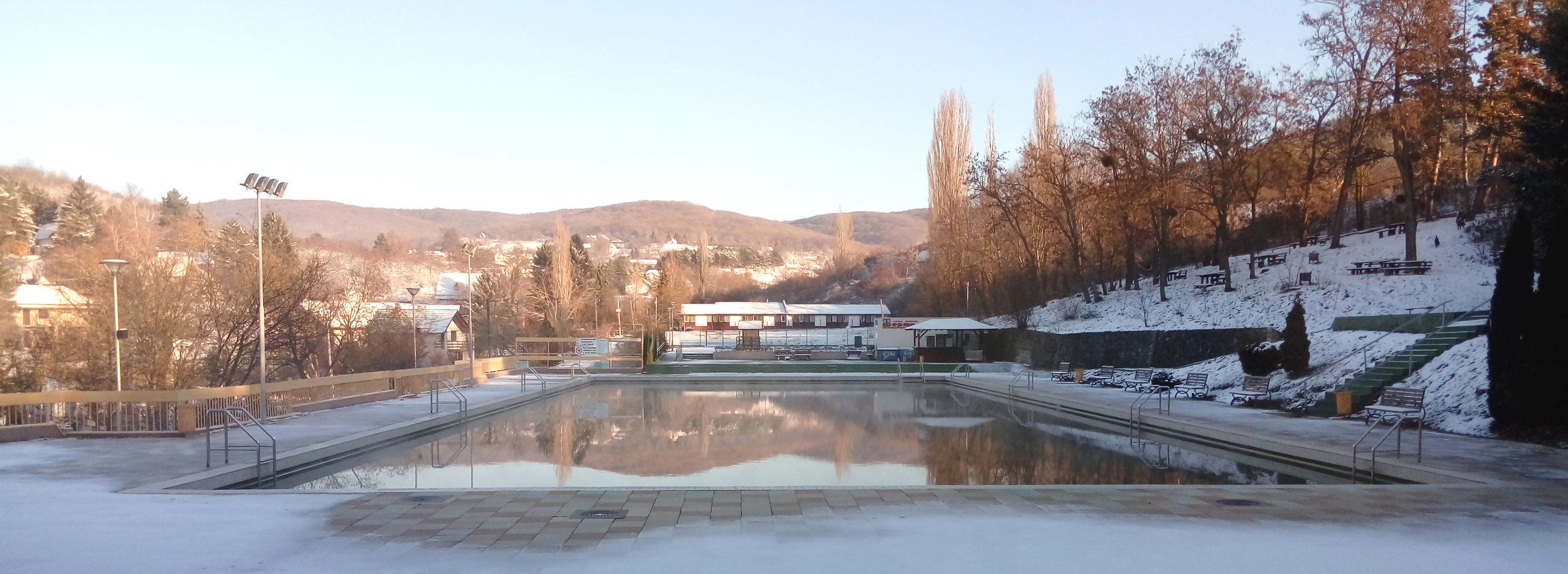The outdoor pool with hot spring water is only open in summer.
