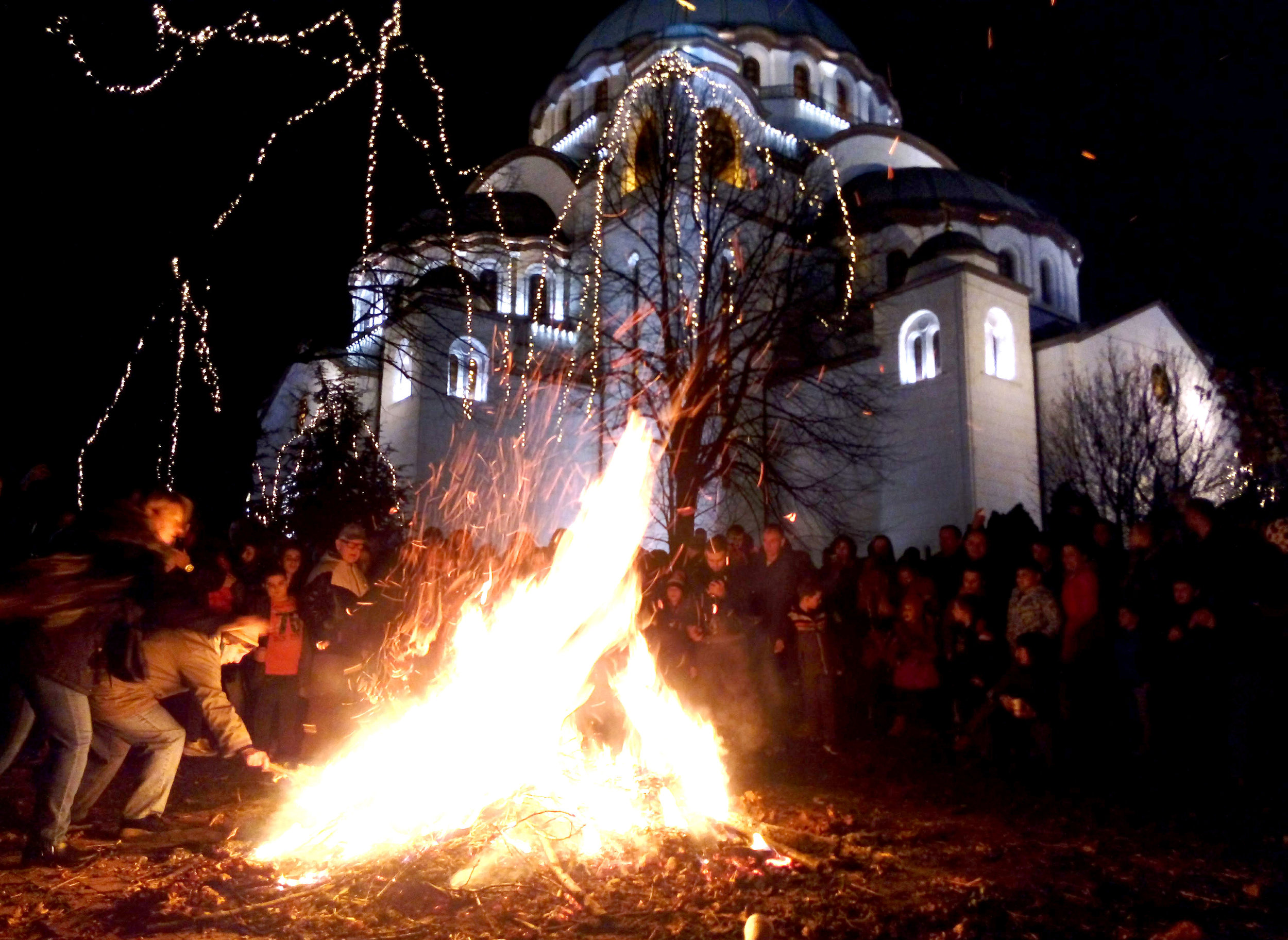 We burned our 'Badnjak' (Yule Log) outside the Church of St Sava on Christmas Eve (6th January)