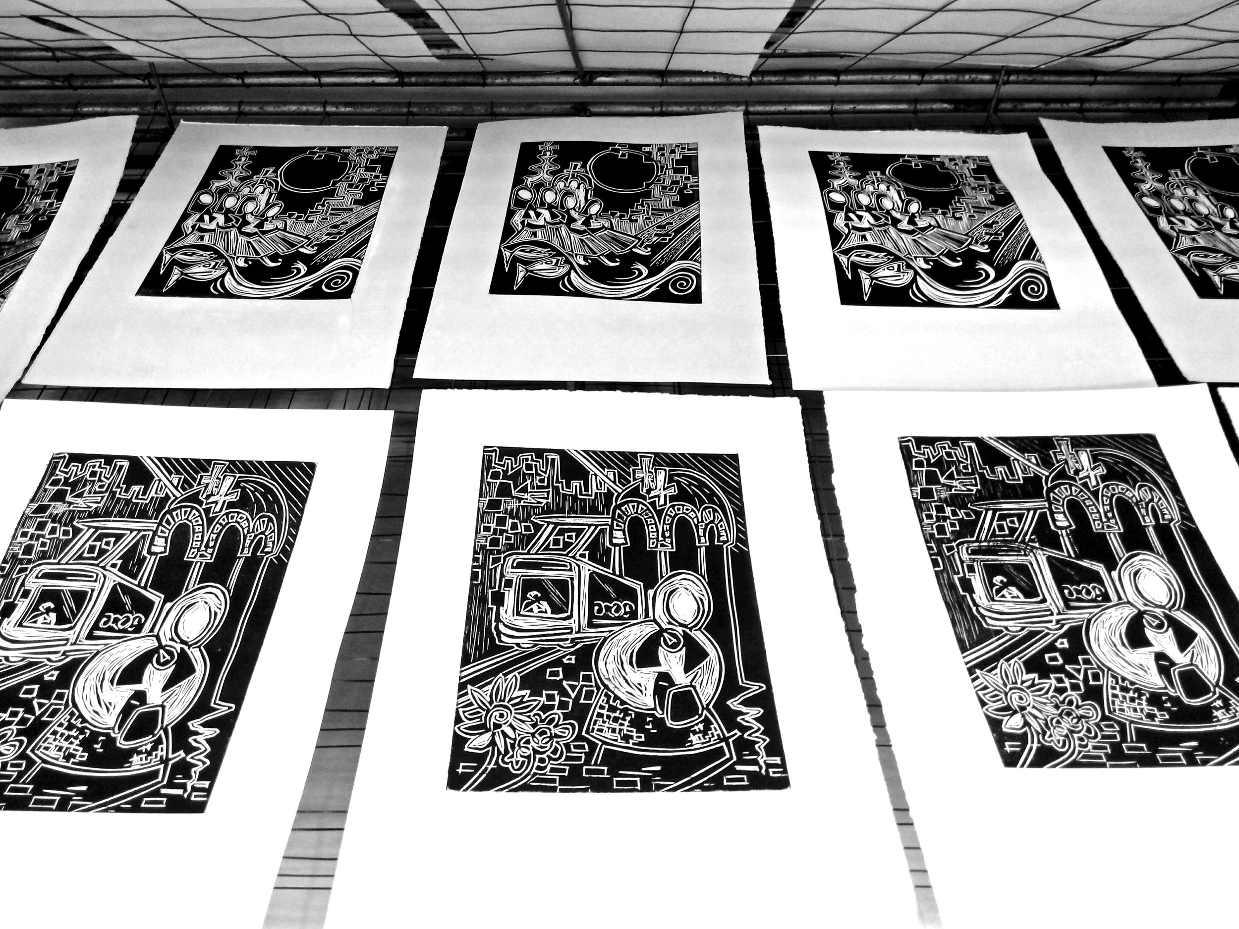 Belgrade linocuts drying.jpg