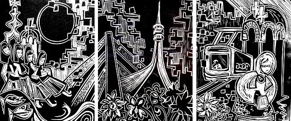 'Belgrade Impressions' linocut triptych by Ali Savic