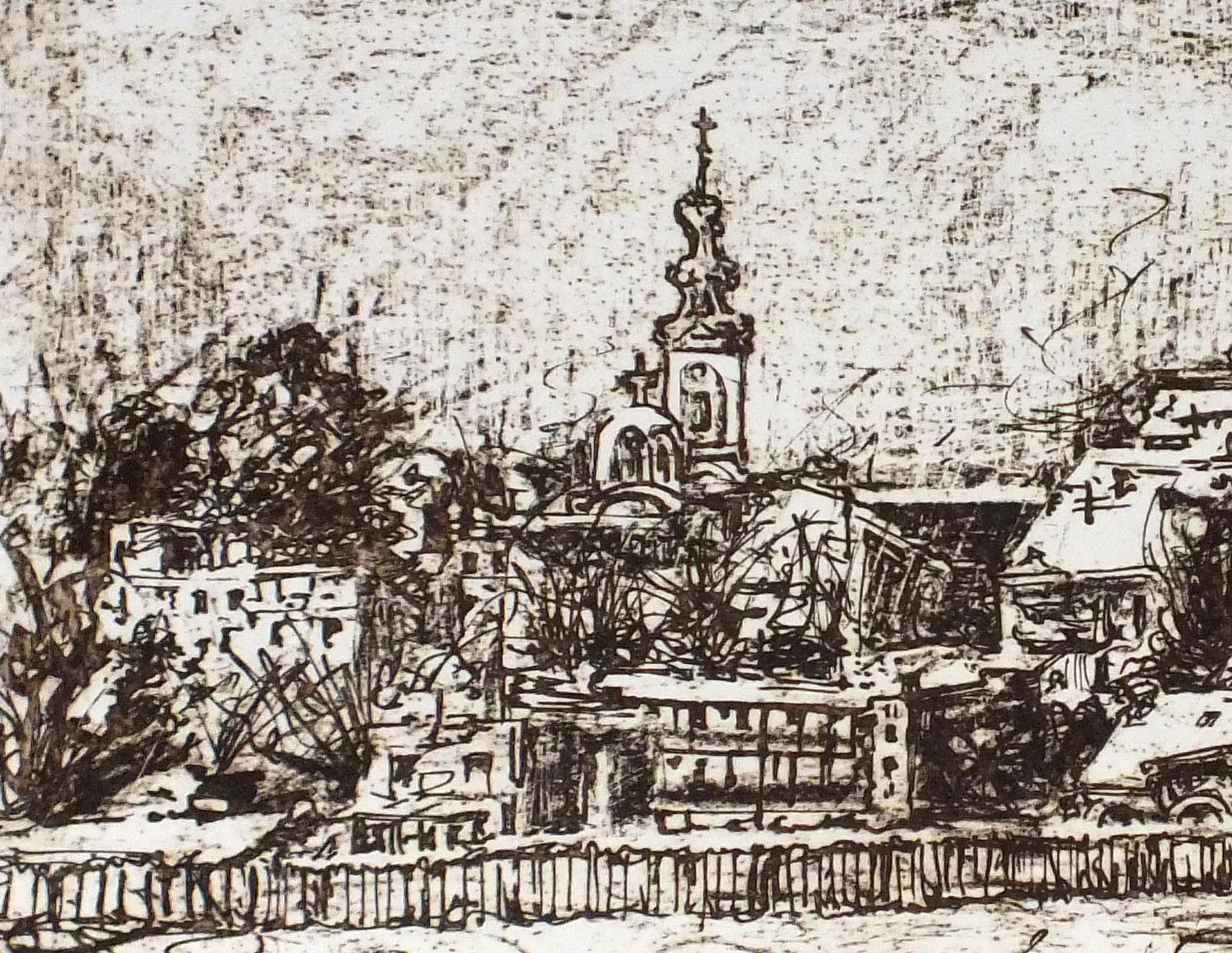 Belgrade in Winter, photo-etching by Ali Savic