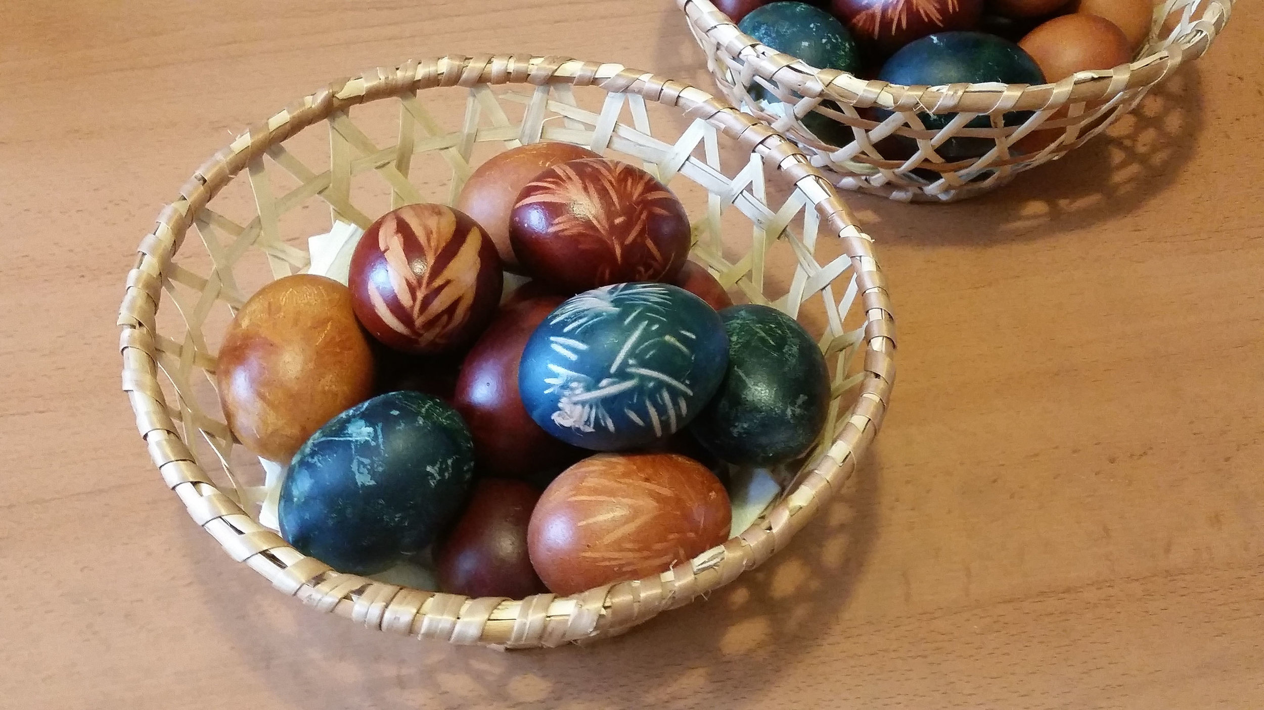 Eggs dyed with red onion skins, red cabbage (blue colour) and regular onion skins (brown)