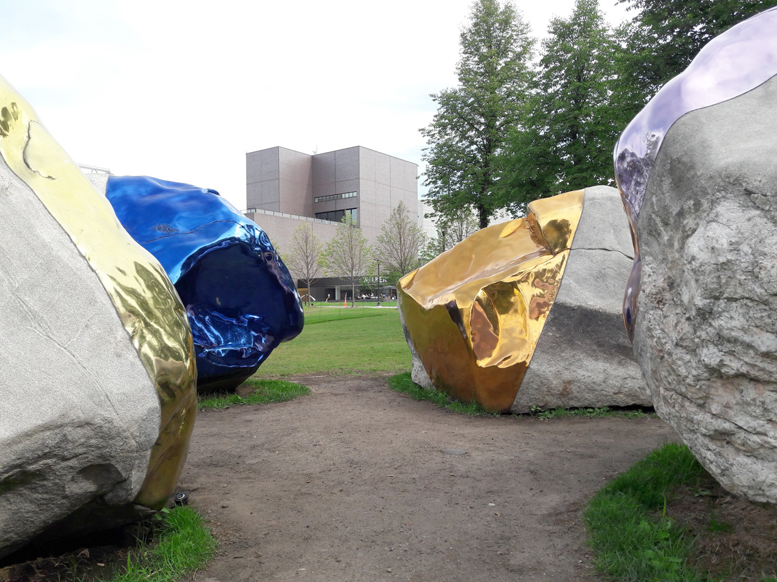 Untitled sculpture by Jim Hodges. Did a giant dip these boulders in molten metal?