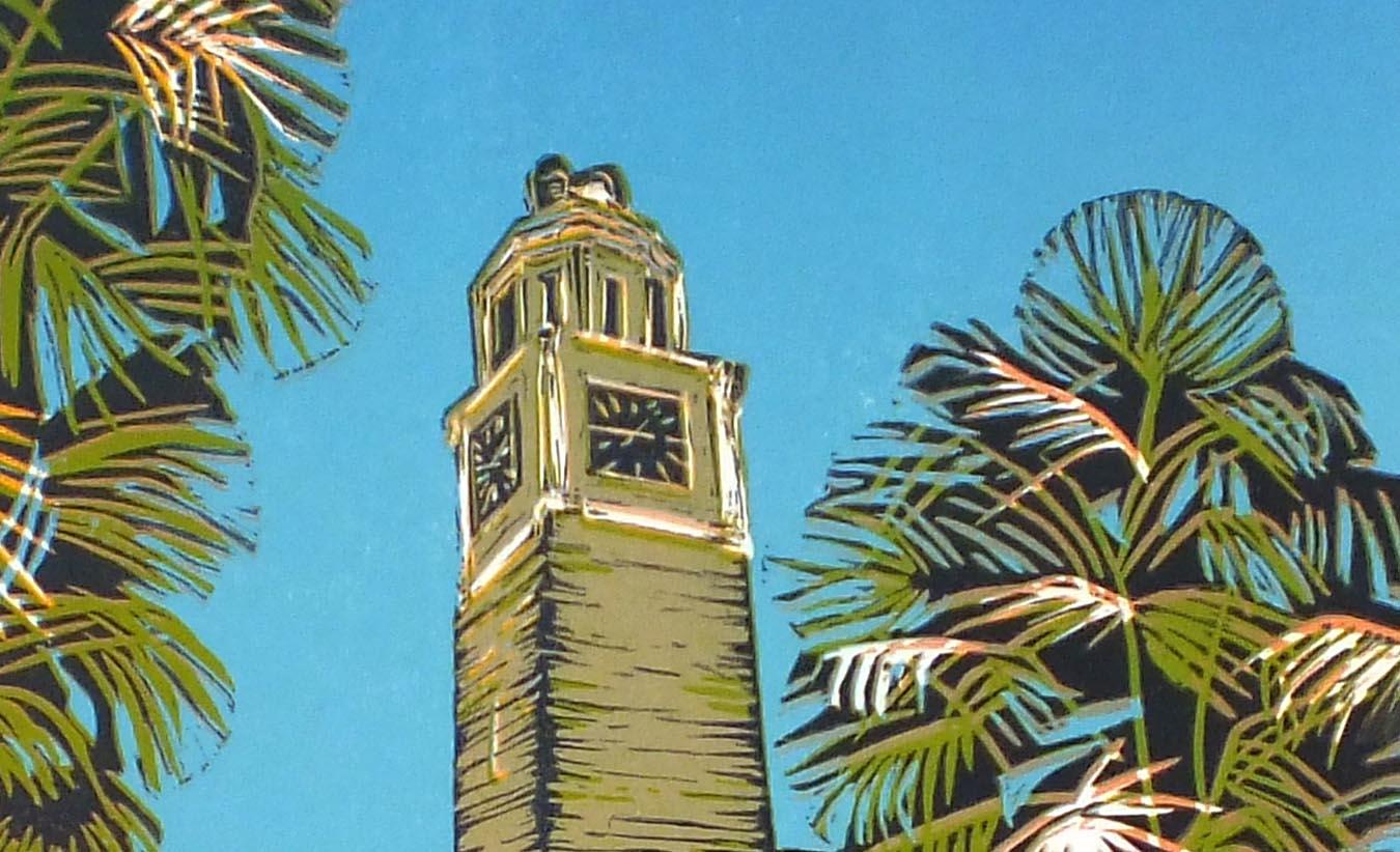 Clock Tower lino #7 closeup1.jpg