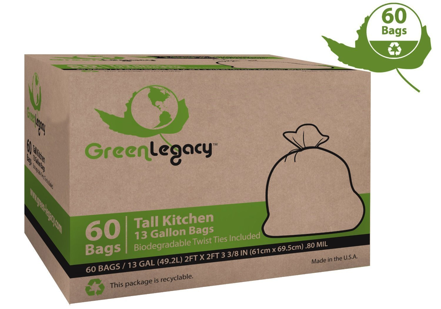 Think garbage can't be green? Think Again. Box is made from 100% recycled paper; twist ties are 100% biodegradable. Made in the USA.