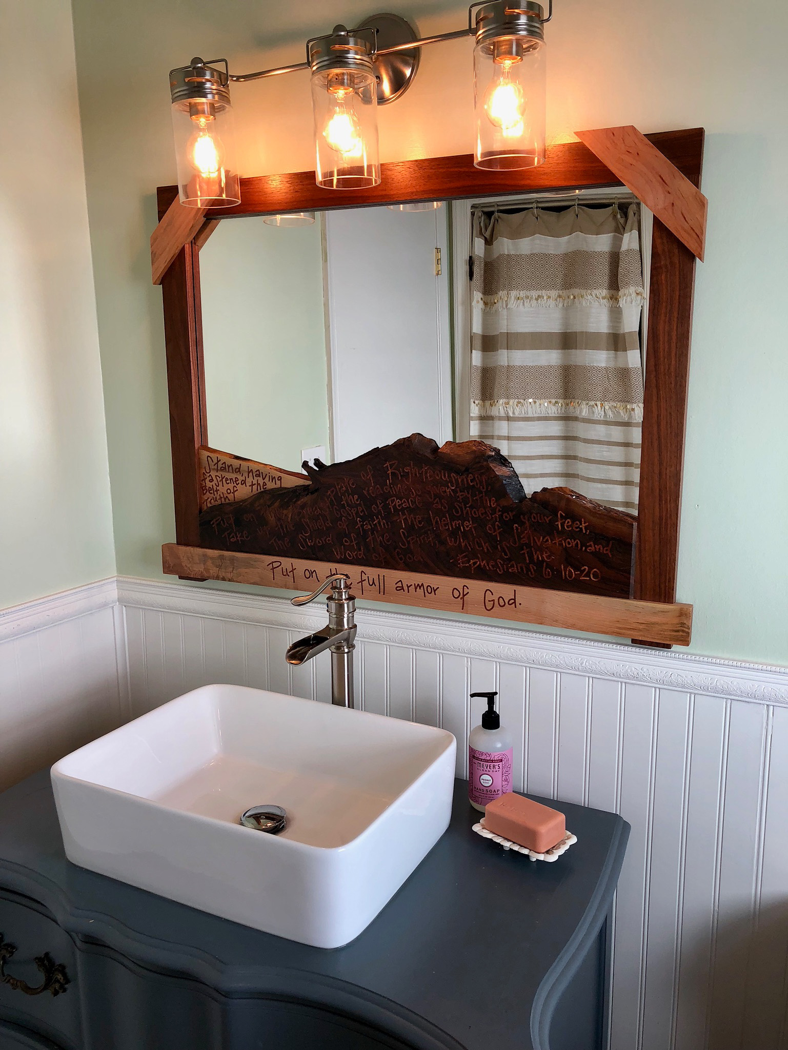 Copper inlayed mirror and reconstructed chest vanity