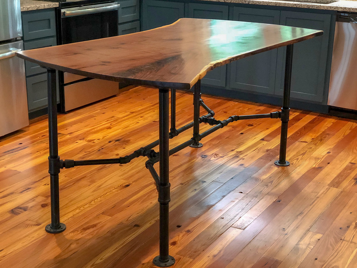 Live Edge Walnut Bookmatched Kitchen Island with Black Pipe ... Iron Pipe Kitchen Island Ideas on fiberglass kitchen island, framing a kitchen island, stainless steel kitchen island, pvc kitchen island, aluminum kitchen island, bronze kitchen island, galvanized kitchen island, brick kitchen island, boos kitchen island, cement kitchen island, copper kitchen island, brass kitchen island, wood kitchen island,
