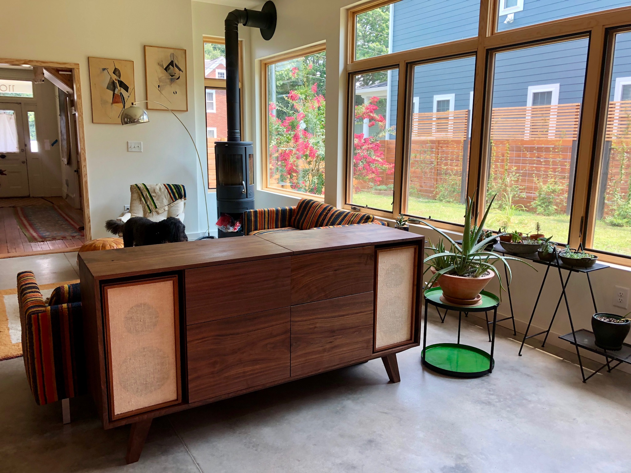 Solid walnut record console