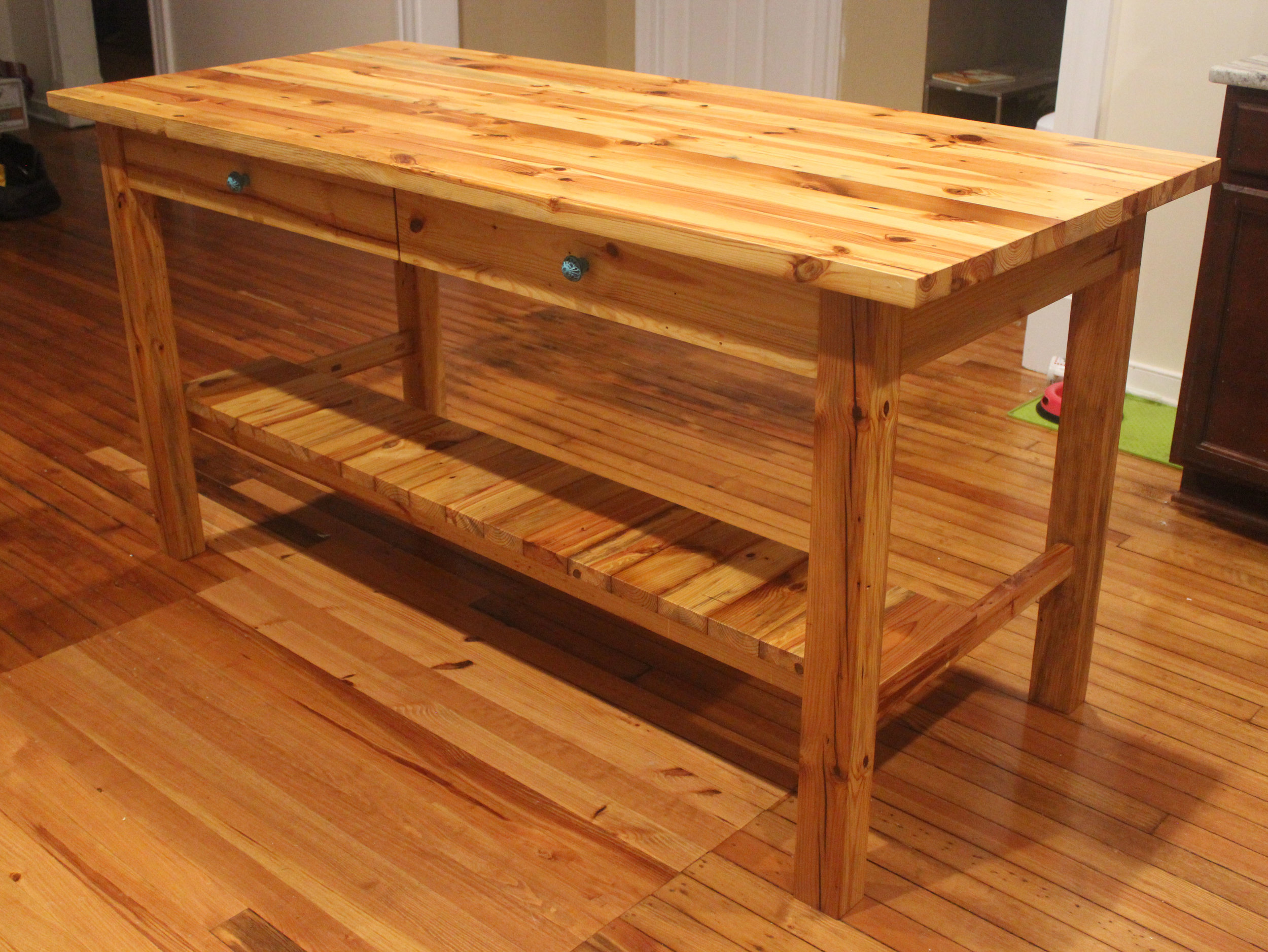 custom reclaimed heart pine kitchen island