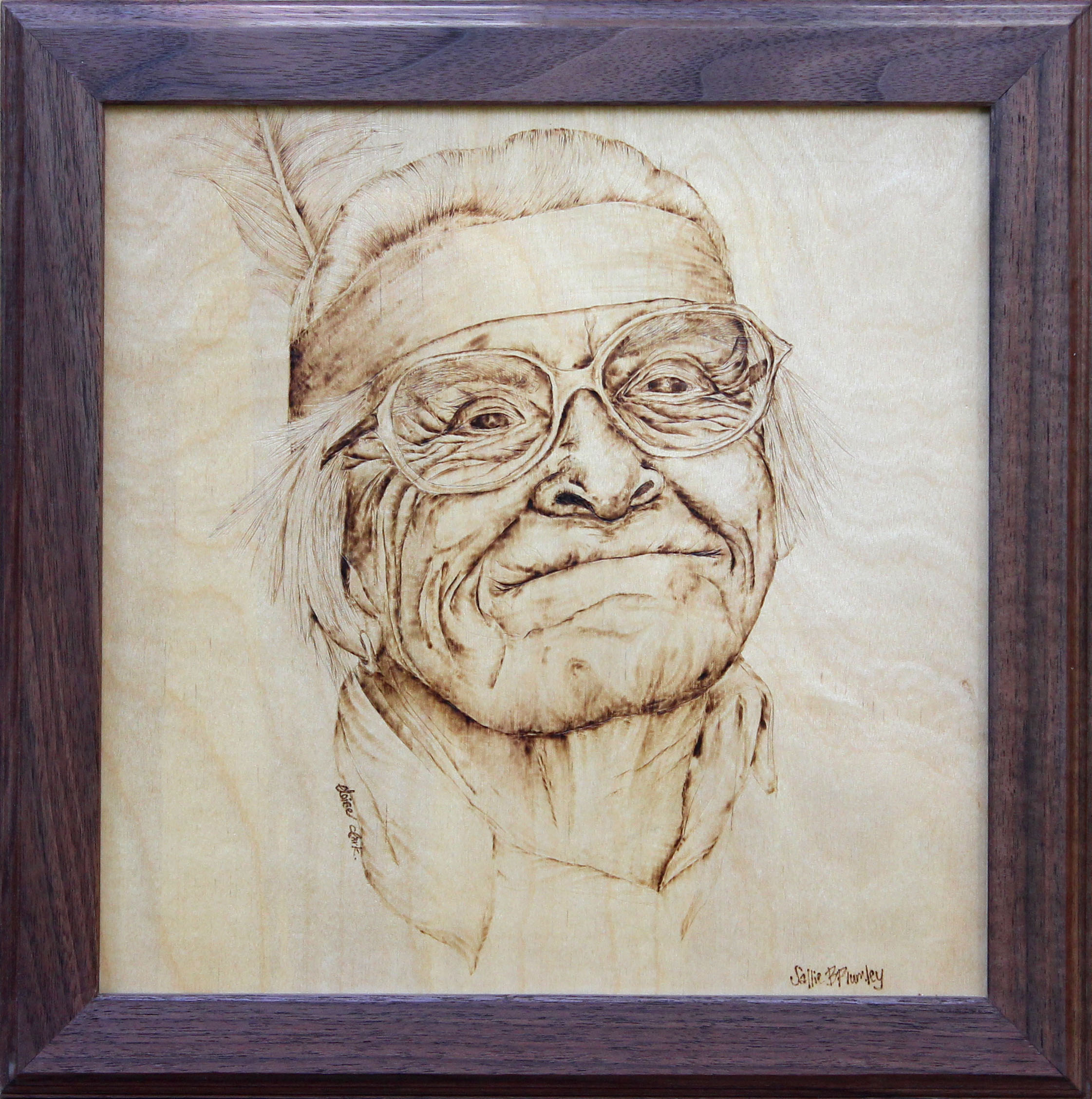 custom wood burned portrait pyrography