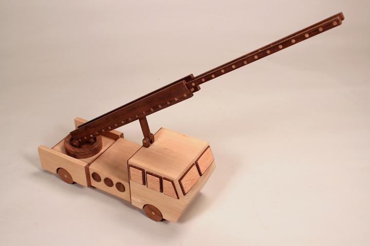custom wooden toy firetruck