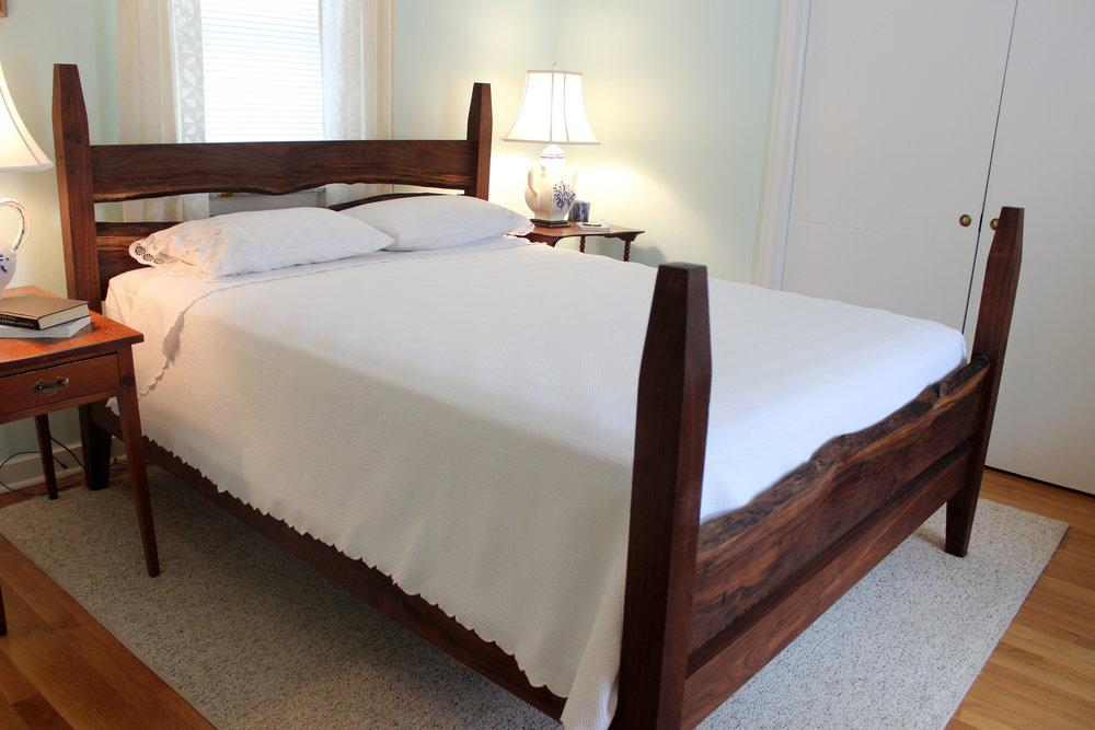 custom live edge walnut bed