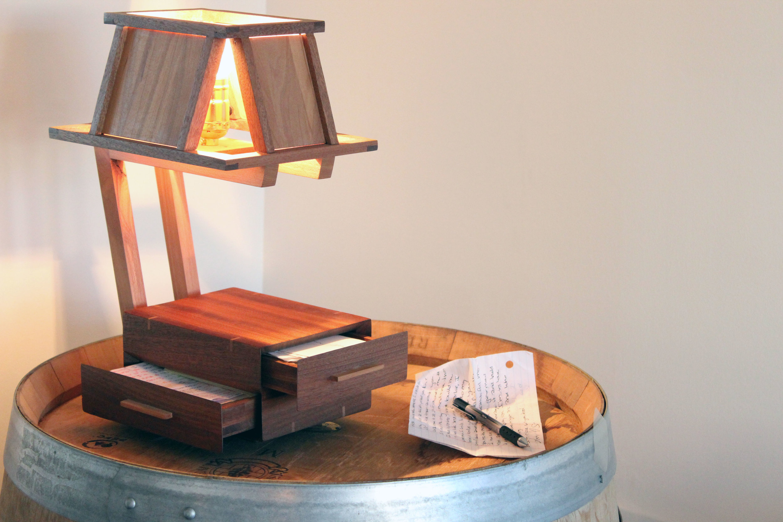 custom wooden lamp with drawers
