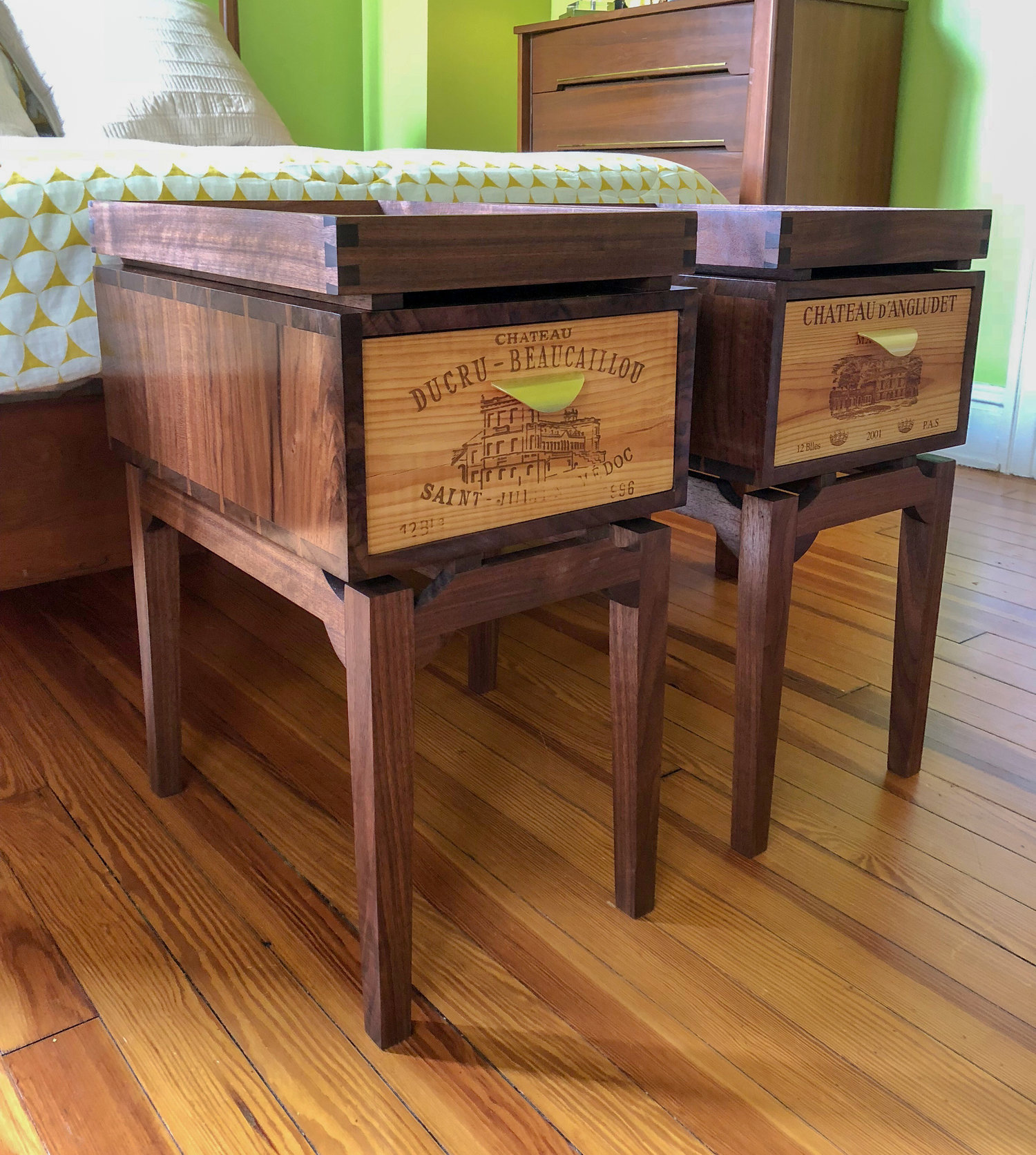 custom walnut wooden side tables with reclaimed wine crate furniture