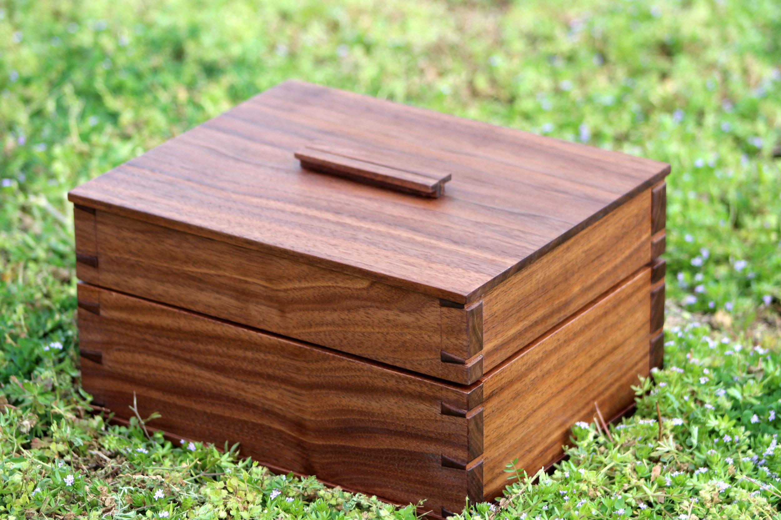 custom walnut wooden box handmade wedding gift