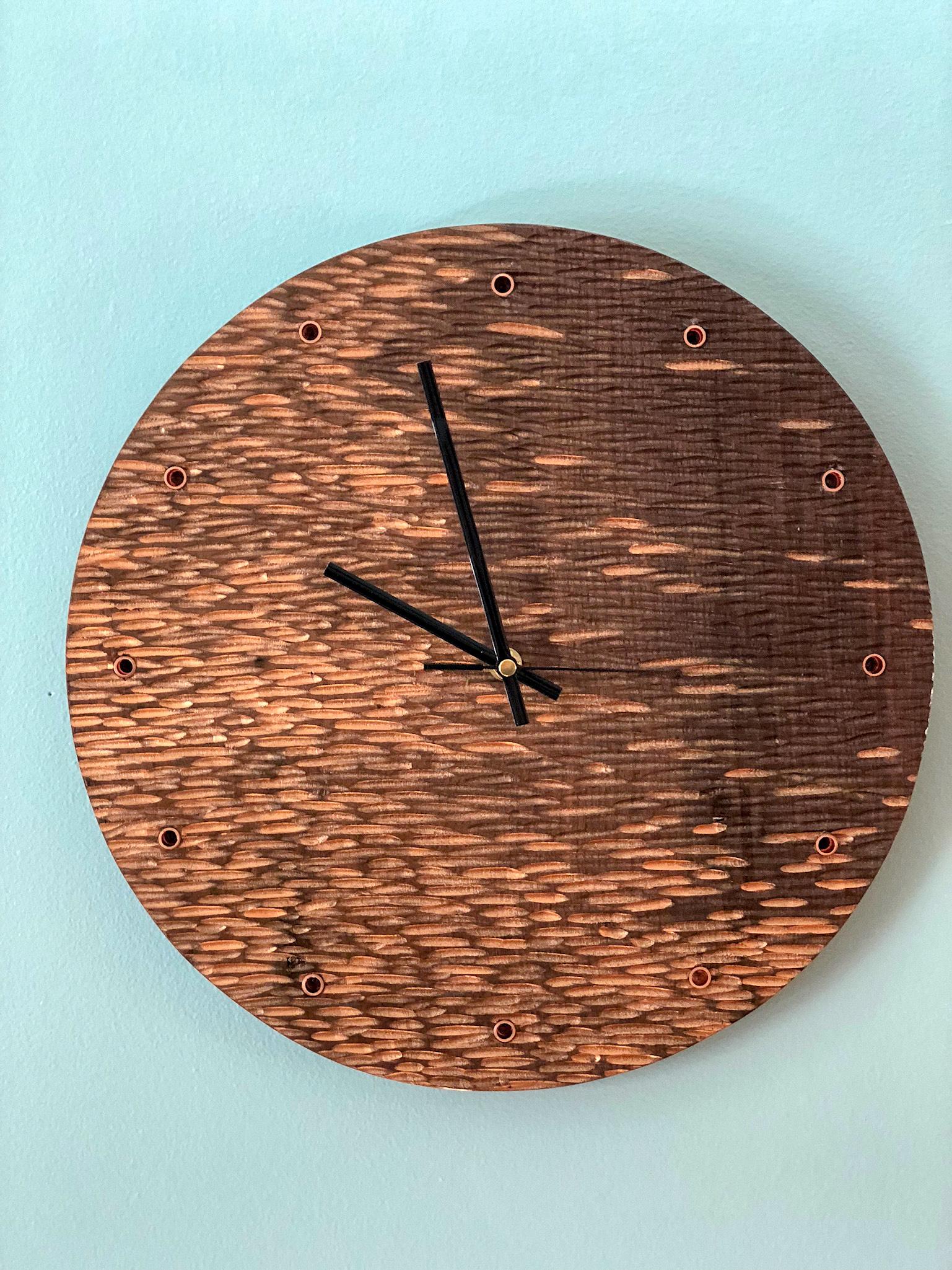 Custom Hand carved walnut wall clock