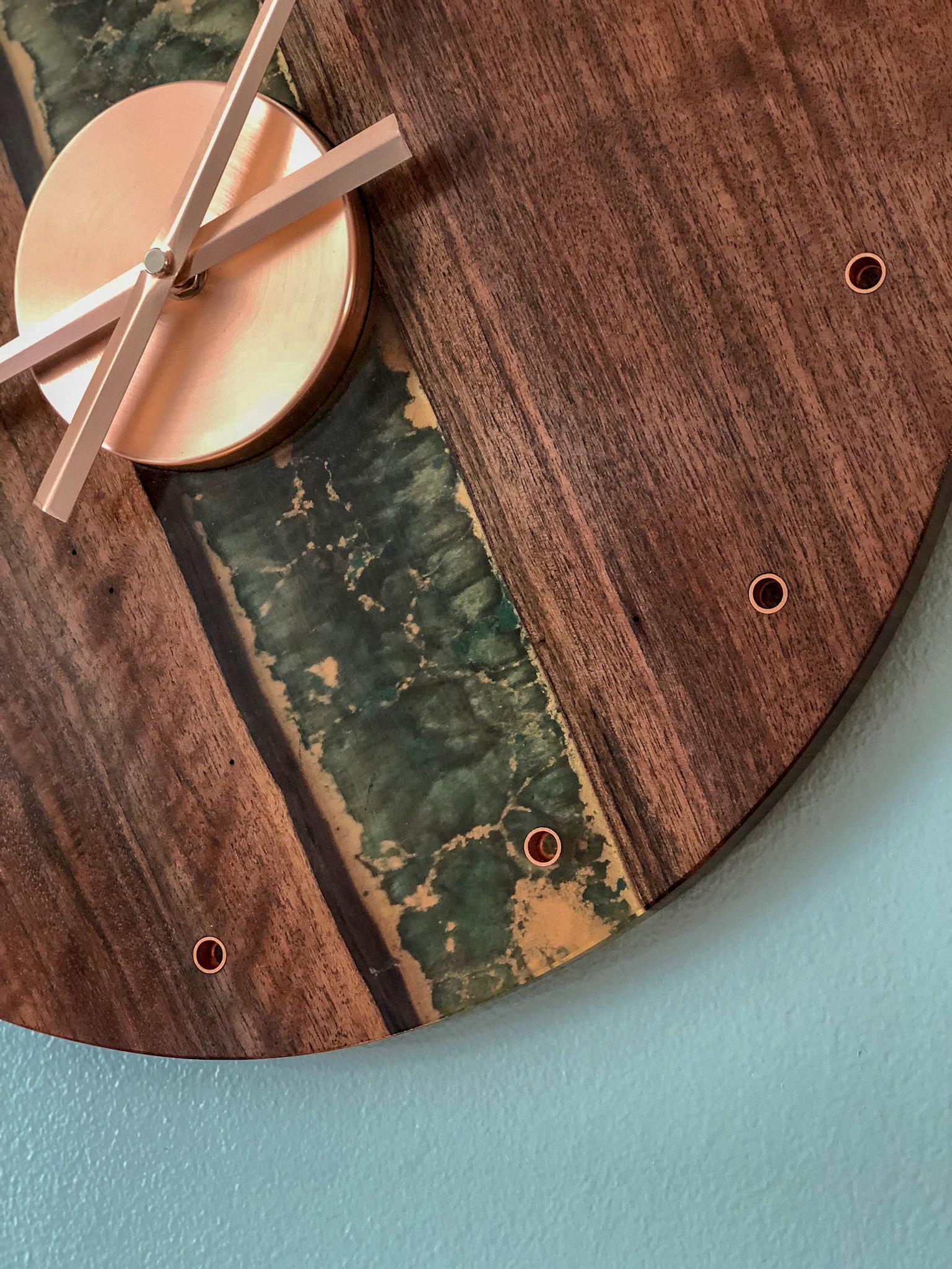 custom walnut river live edge wall clock handmade wooden gifts RVA