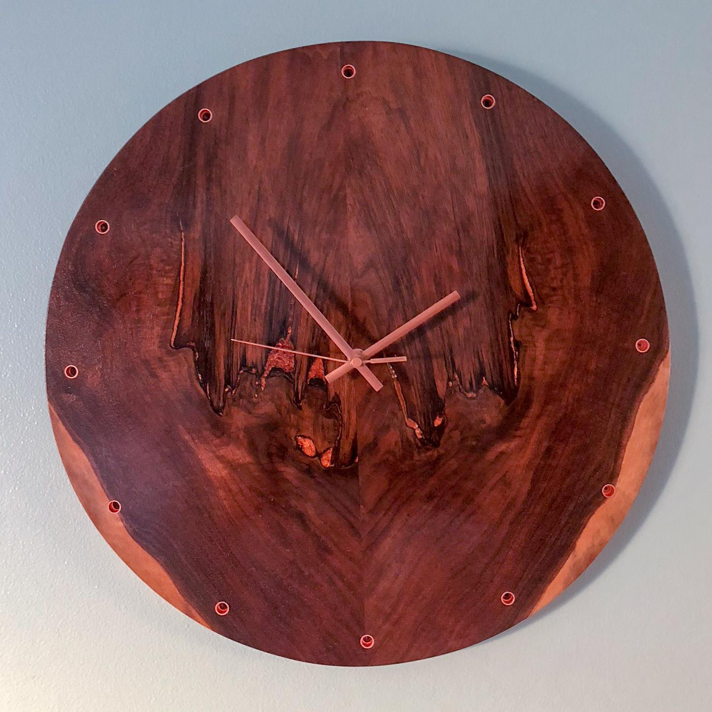 custom walnut wooden wall clock
