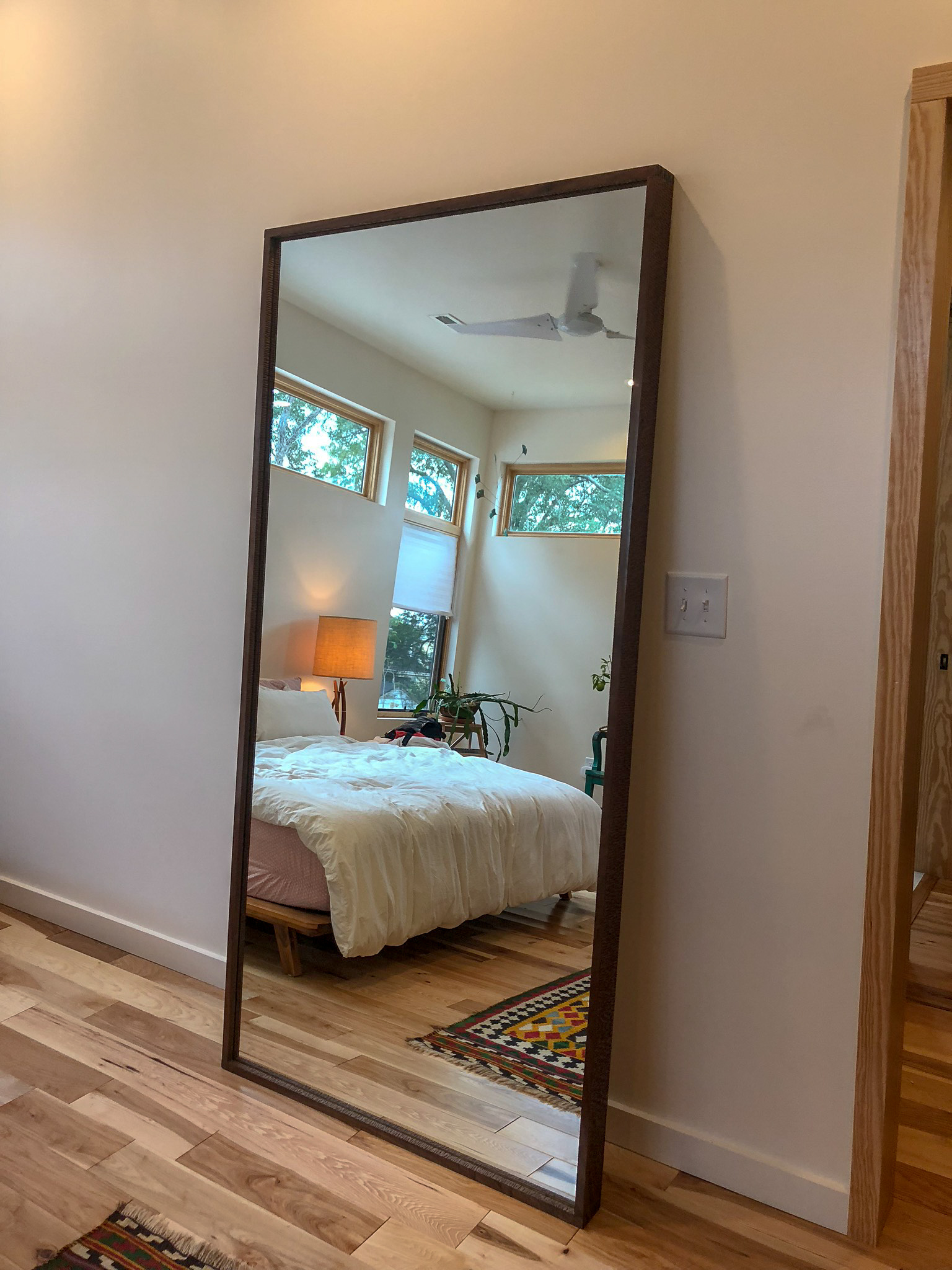 Custom Walnut Floor Mirror Hand Carved mid century modern furniture Sallie Plumley Studio Richmond Virginia Sally Plumley Custom Woodworking and Furniture Design