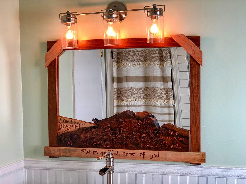 custom live edge mirror and reconstructed reclaimed dresser vanity mid century modern furniture Sallie Plumley Studio Richmond Virginia Sally Plumley Custom Woodworking and Furniture Design