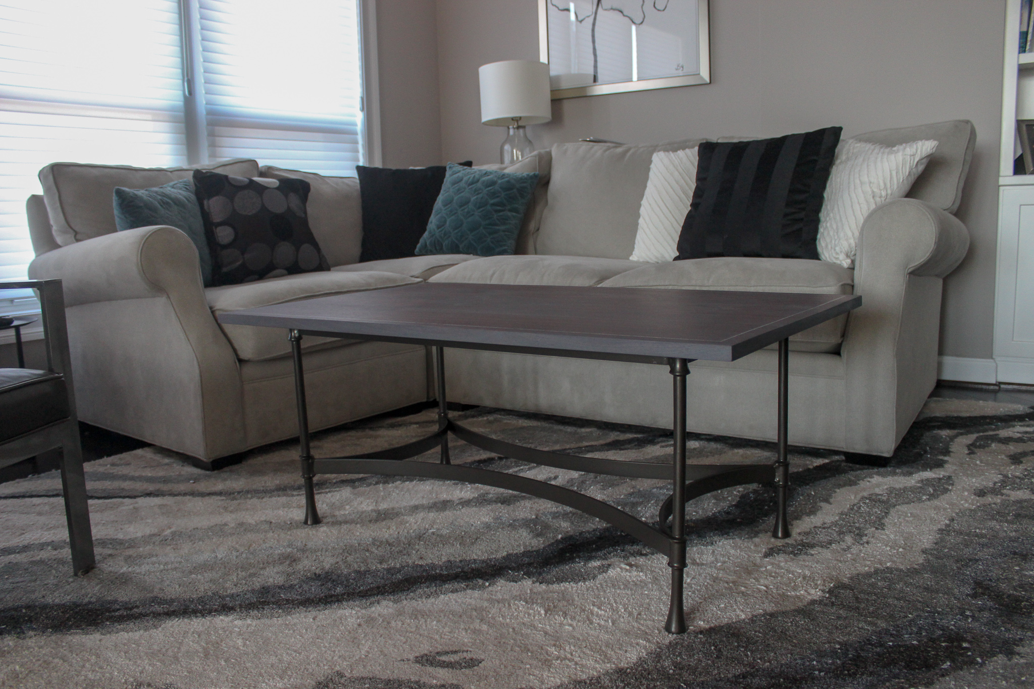 custom walnut tabletop with mother of pearl inlay mid century modern furniture Sallie Plumley Studio Richmond Virginia Sally Plumley Custom Woodworking and Furniture Design