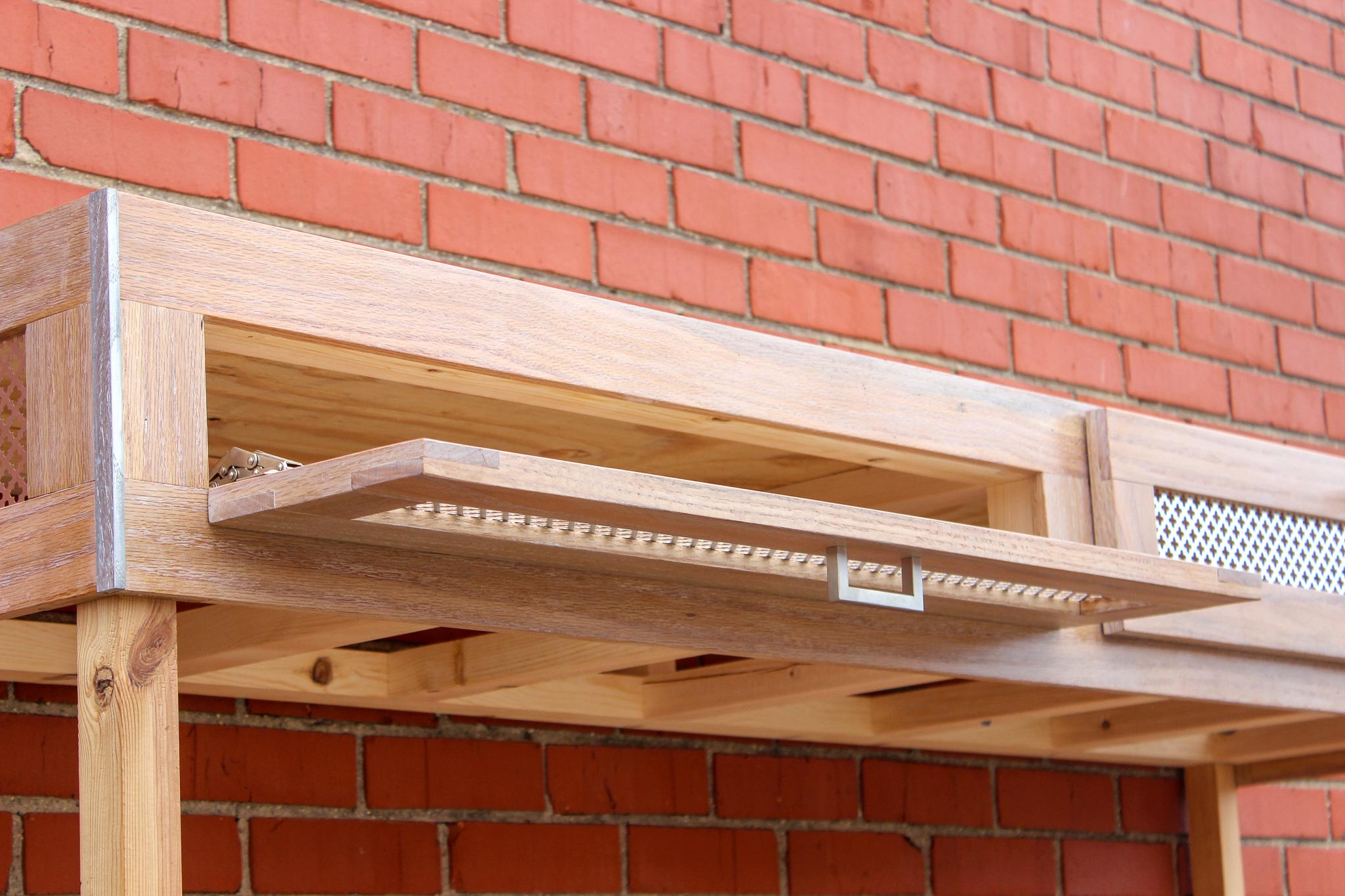 custom red oak aquarium stand mid century modern furniture Sallie Plumley Studio Richmond Virginia Sally Plumley Custom Woodworking and Furniture Design