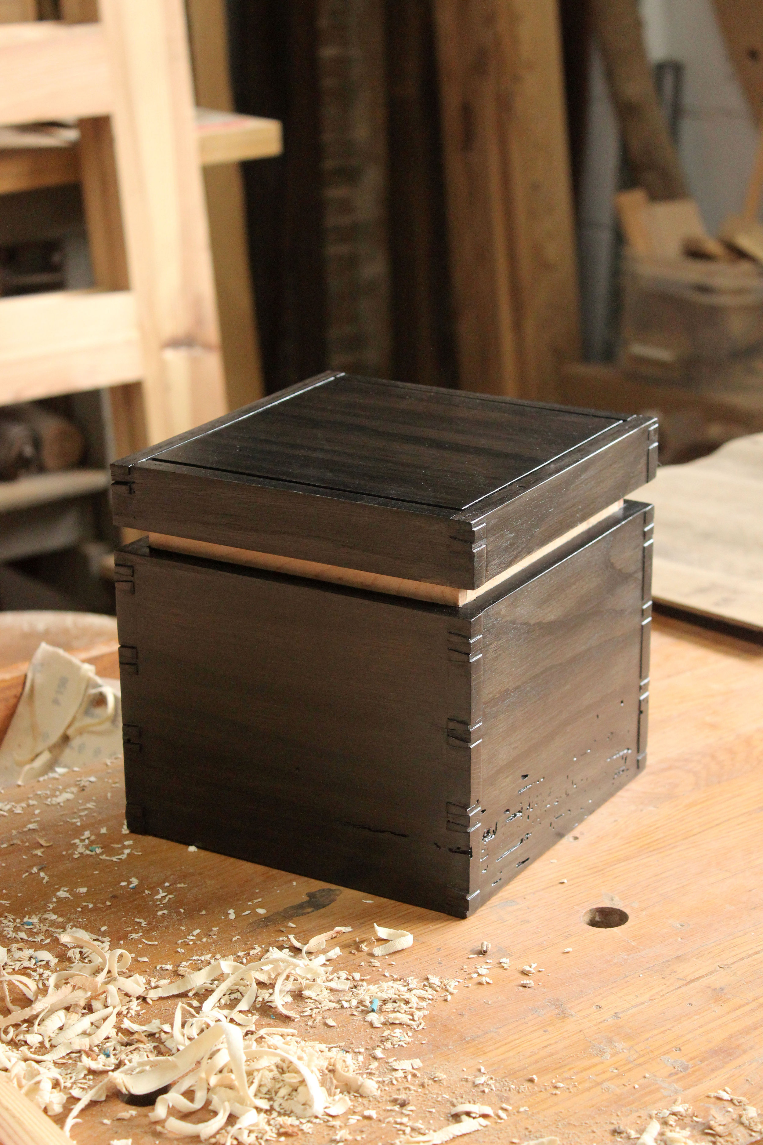 little black box. wooden box. wedding gift. custom wooden handmade gift. sallie plumley studio. richmond virginia. rva