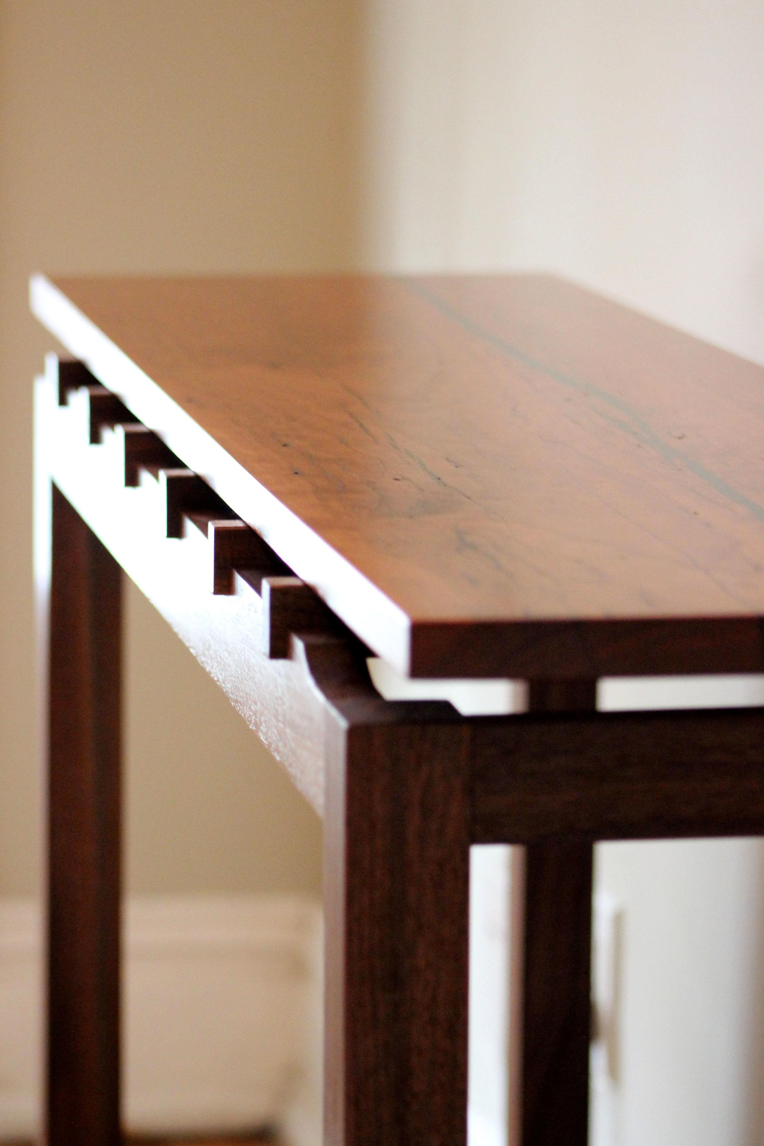 custom cherry and walnut console sofa table with malachite inlay mid century modern furniture Sallie Plumley Studio Richmond Virginia Sally Plumley Custom Woodworking and Furniture Design