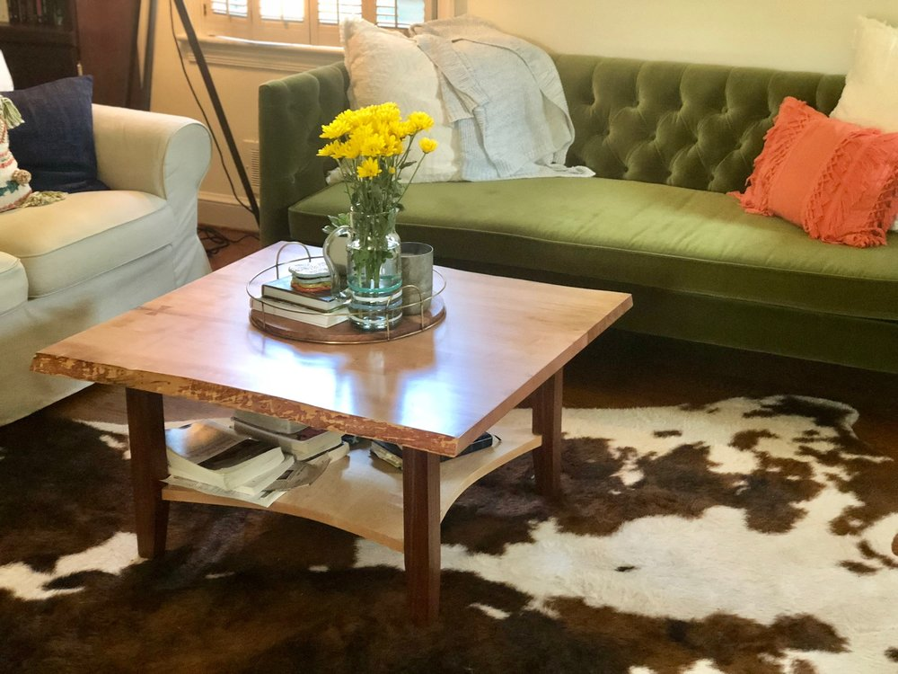Custom live edge maple coffee table game table with bowtie and inlay mid century modern furniture Sallie Plumley Studio Richmond Virginia Sally Plumley Custom Woodworking and Furniture Design