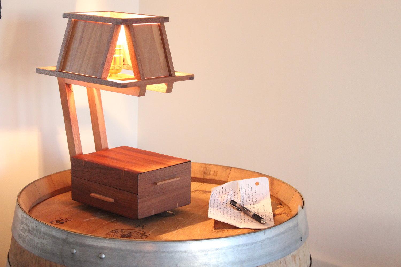 Lonely Little Lamp. tabletop lamp. handmade gift. wooden lamp. wooden shade. sallie plumley studio. richmond virginia