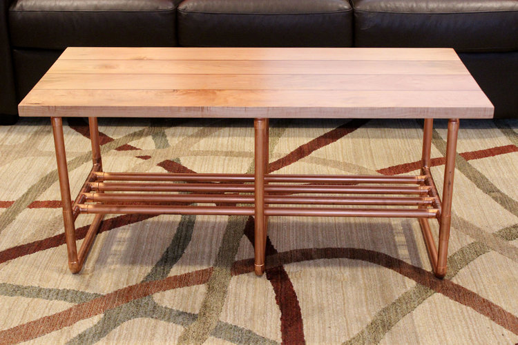 Custom maple coffee table with copper inlay and copper pipe legs mid century modern furniture Sallie Plumley Studio Richmond Virginia Sally Plumley Custom Woodworking and Furniture Design